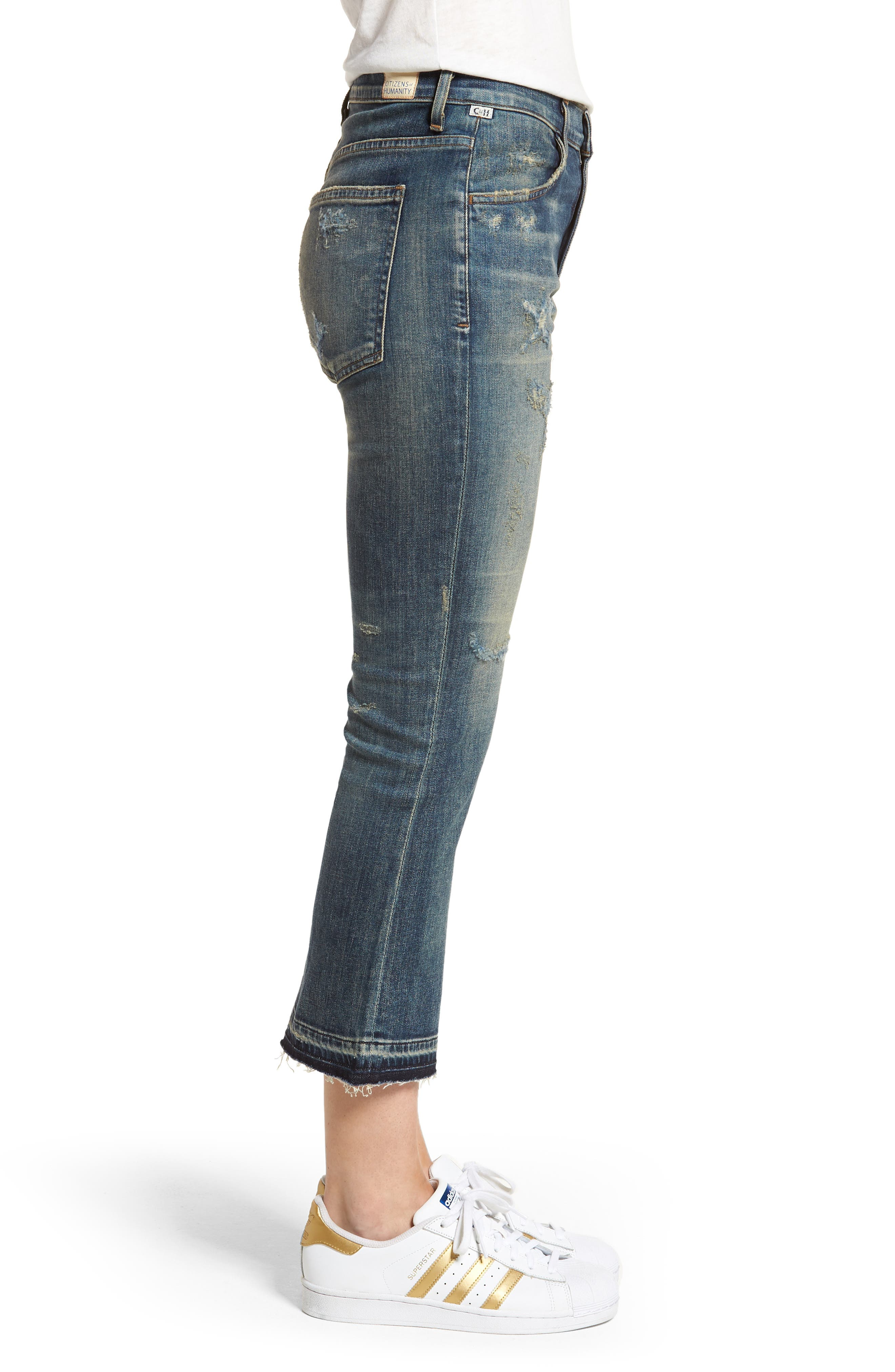 Drew Crop Flare Jeans,                             Alternate thumbnail 3, color,                             422