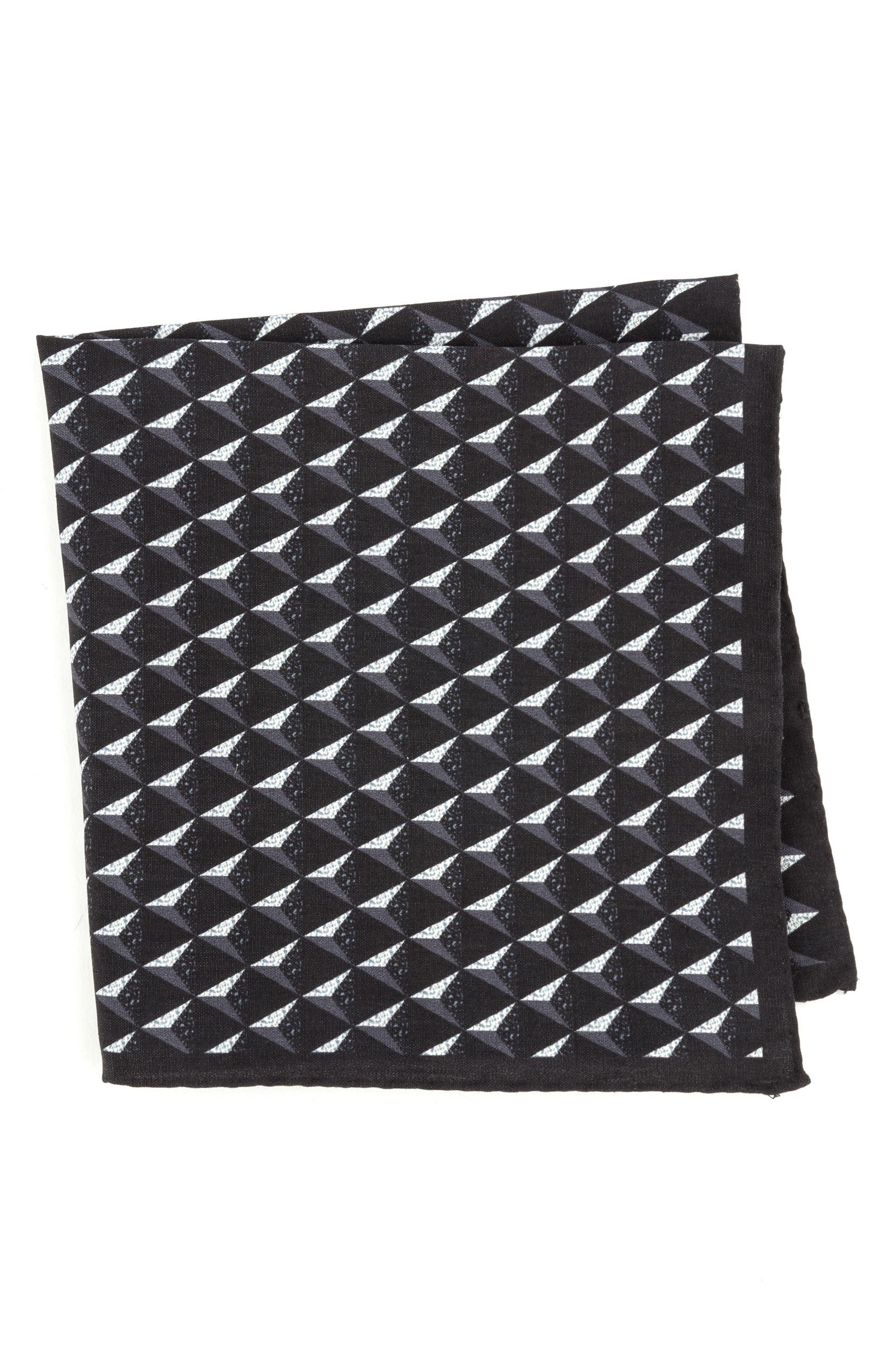 Geometric Silk Pocket Square,                             Main thumbnail 1, color,