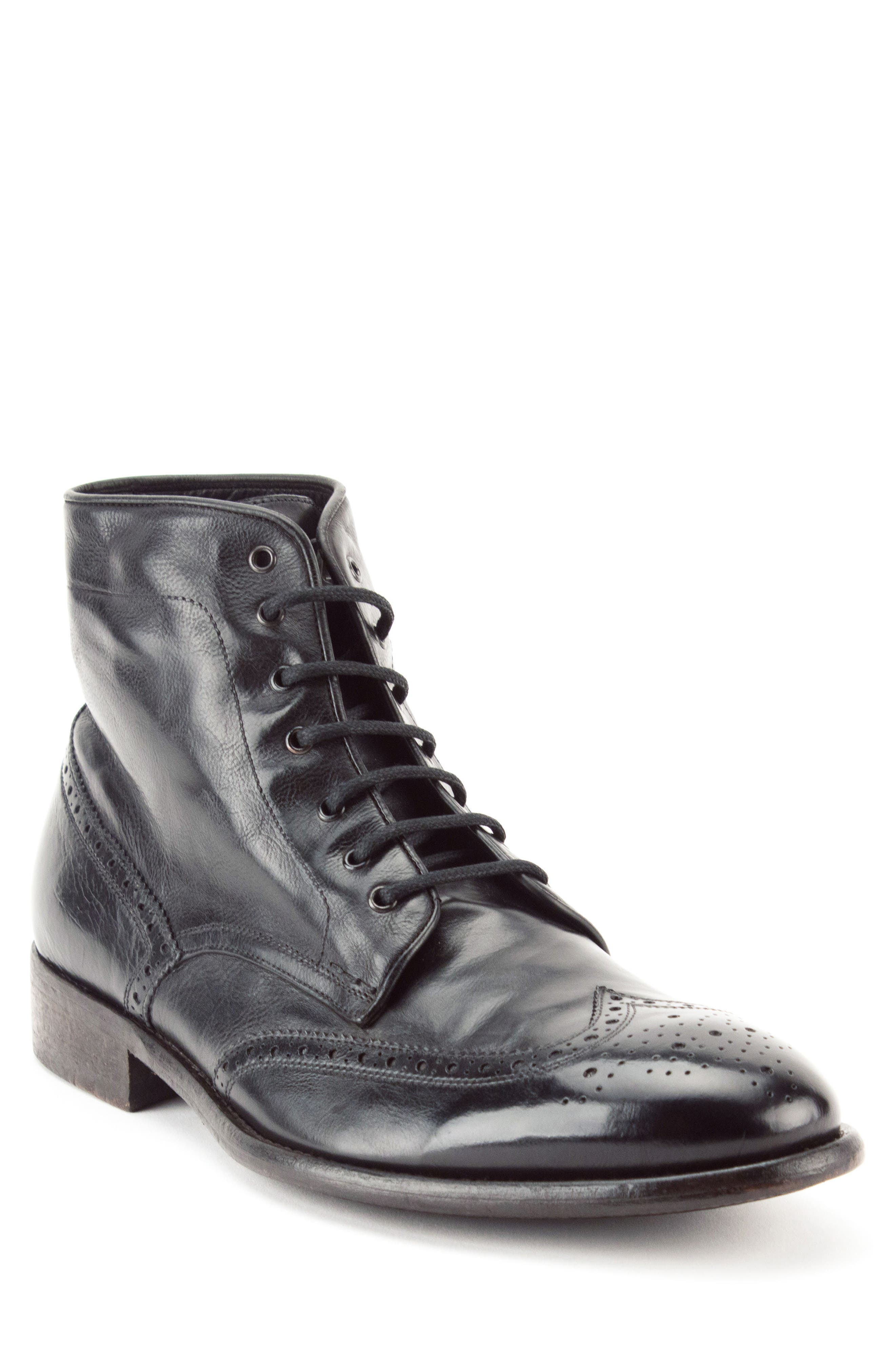 Maxfield Wingtip Boot,                         Main,                         color, BLACK LEATHER