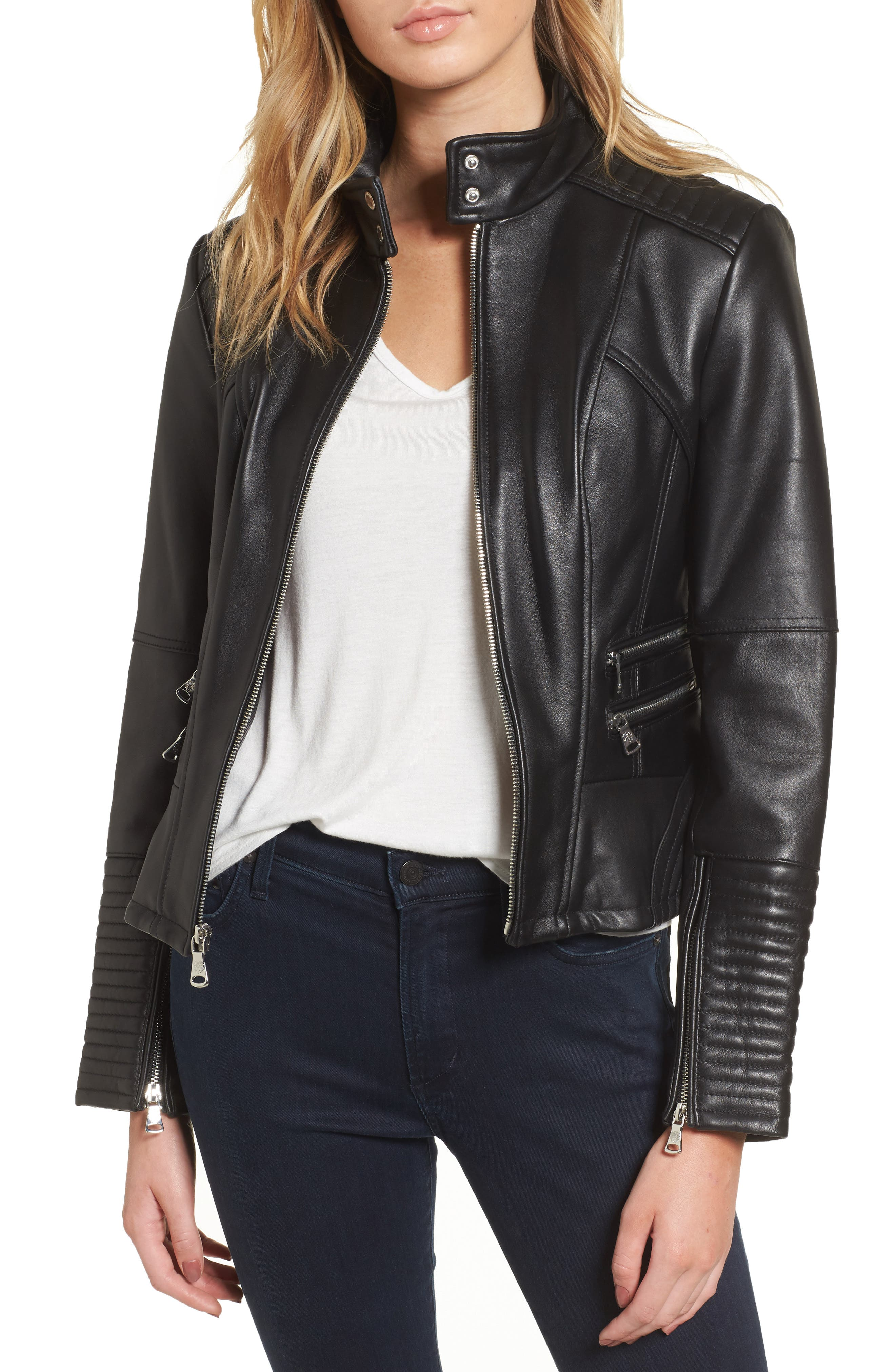 Double Zip Leather Moto Jacket,                         Main,                         color, 001