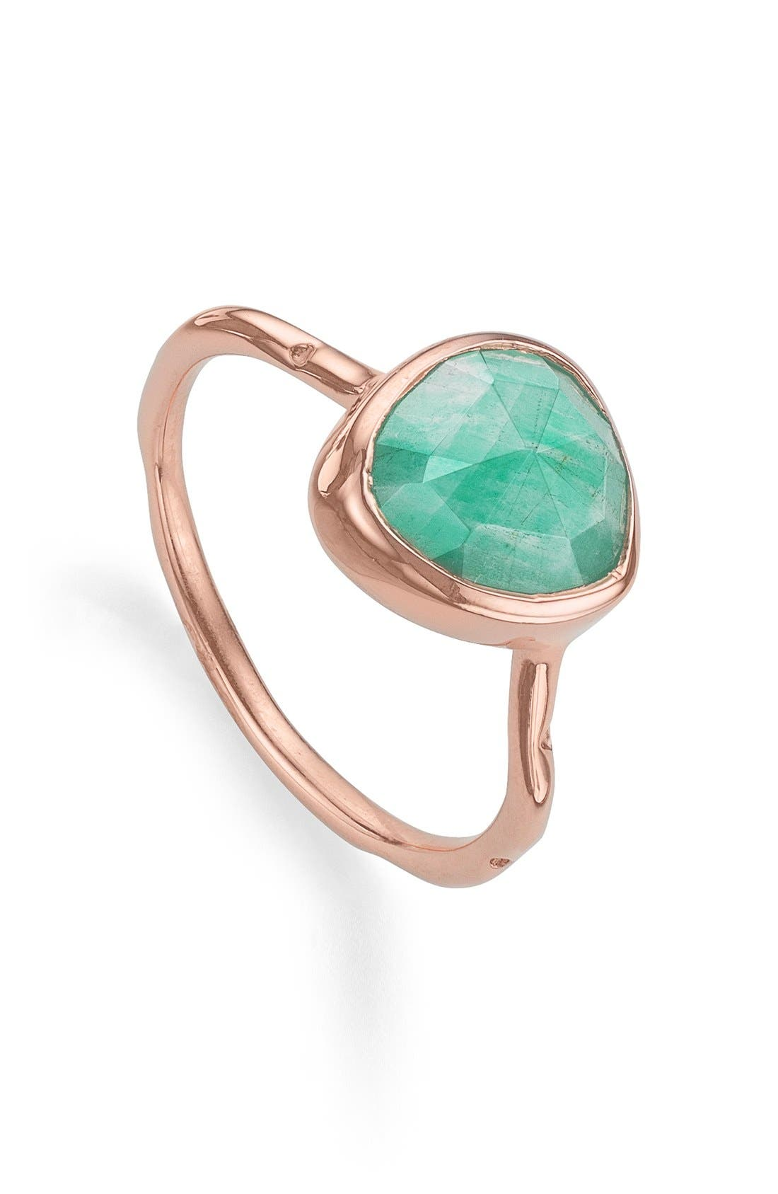 Siren Semiprecious Stone Stacking Ring,                             Main thumbnail 1, color,                             ROSE GOLD/ AMAZONITE