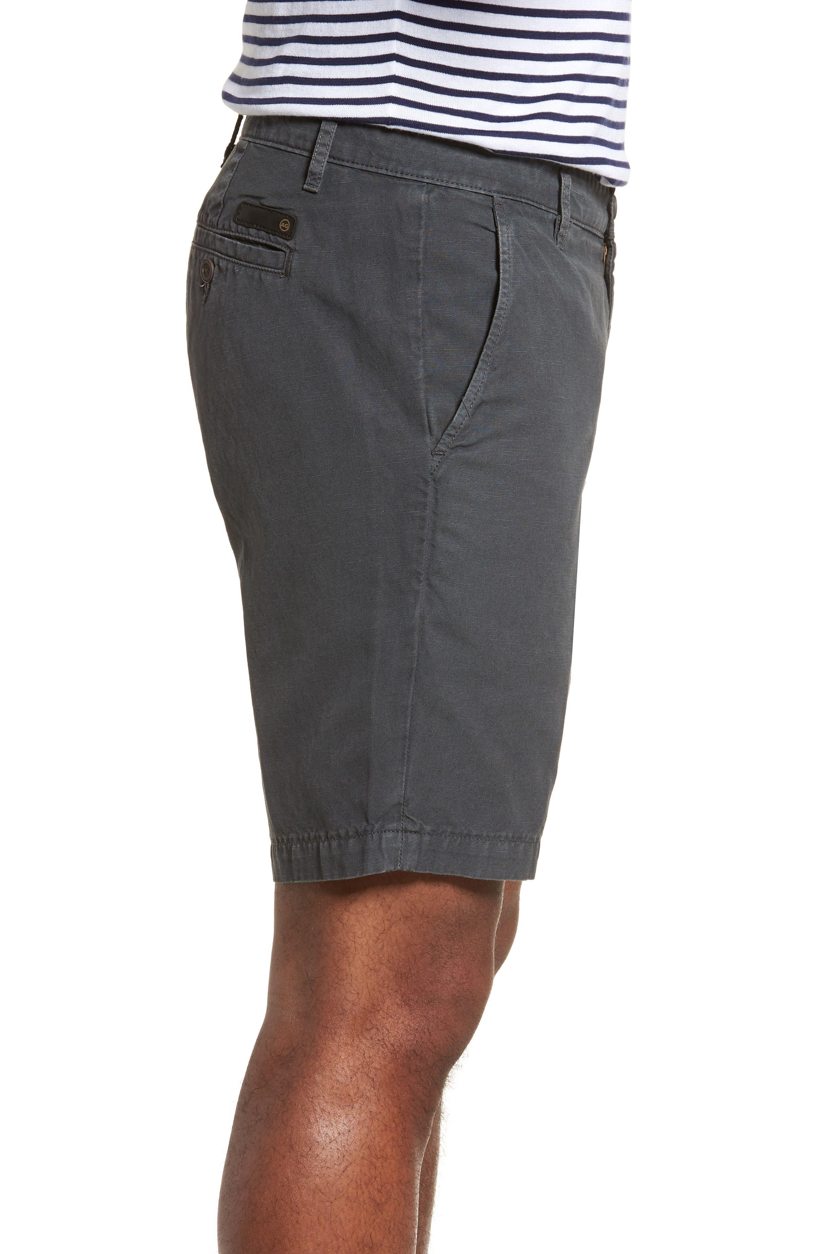 Wanderer Slim Fit Cotton & Linen Shorts,                             Alternate thumbnail 3, color,                             SULFUR SMOKE GREY