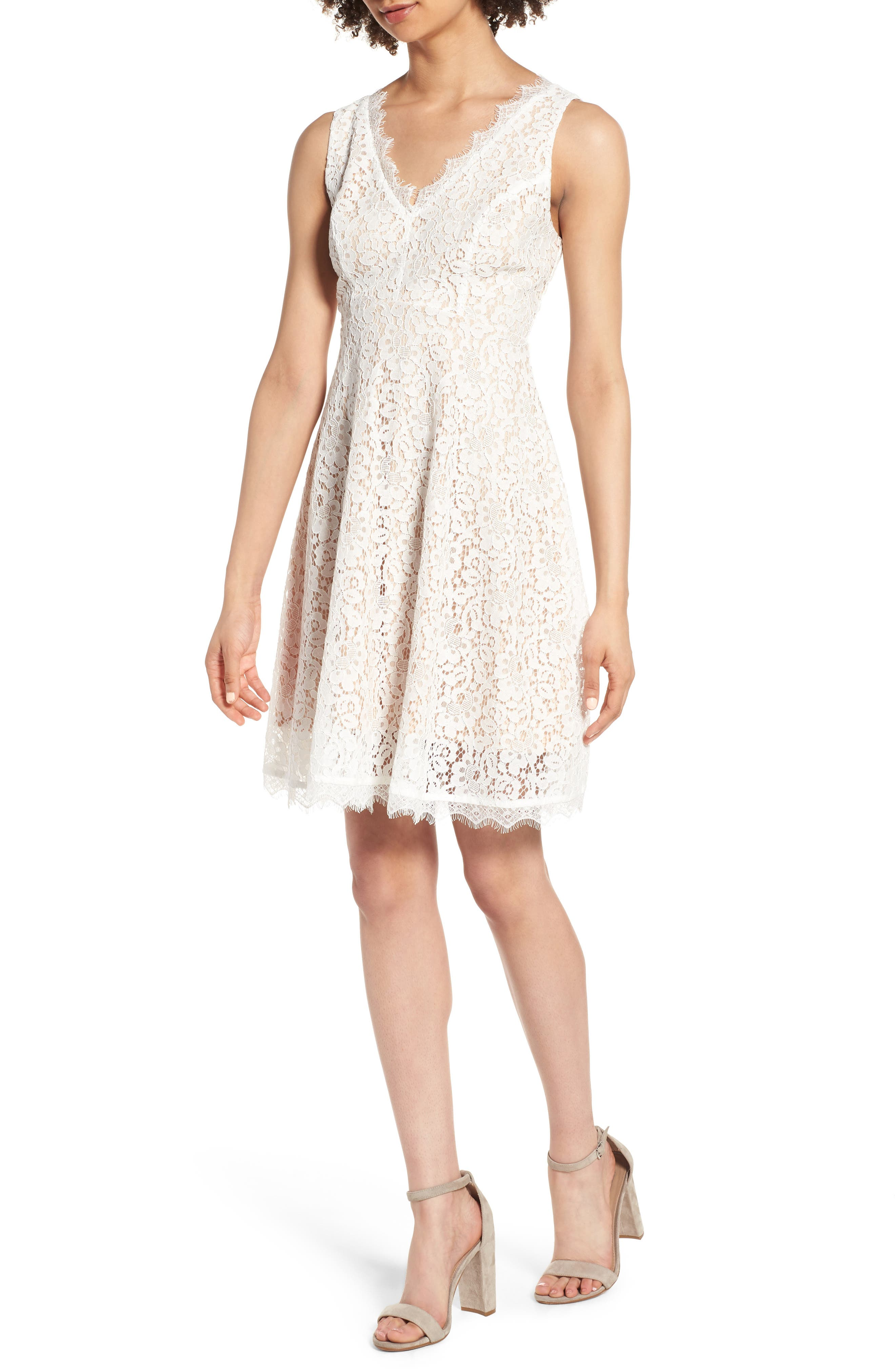 Lace Fit & Flare Dress,                         Main,                         color, IVORY