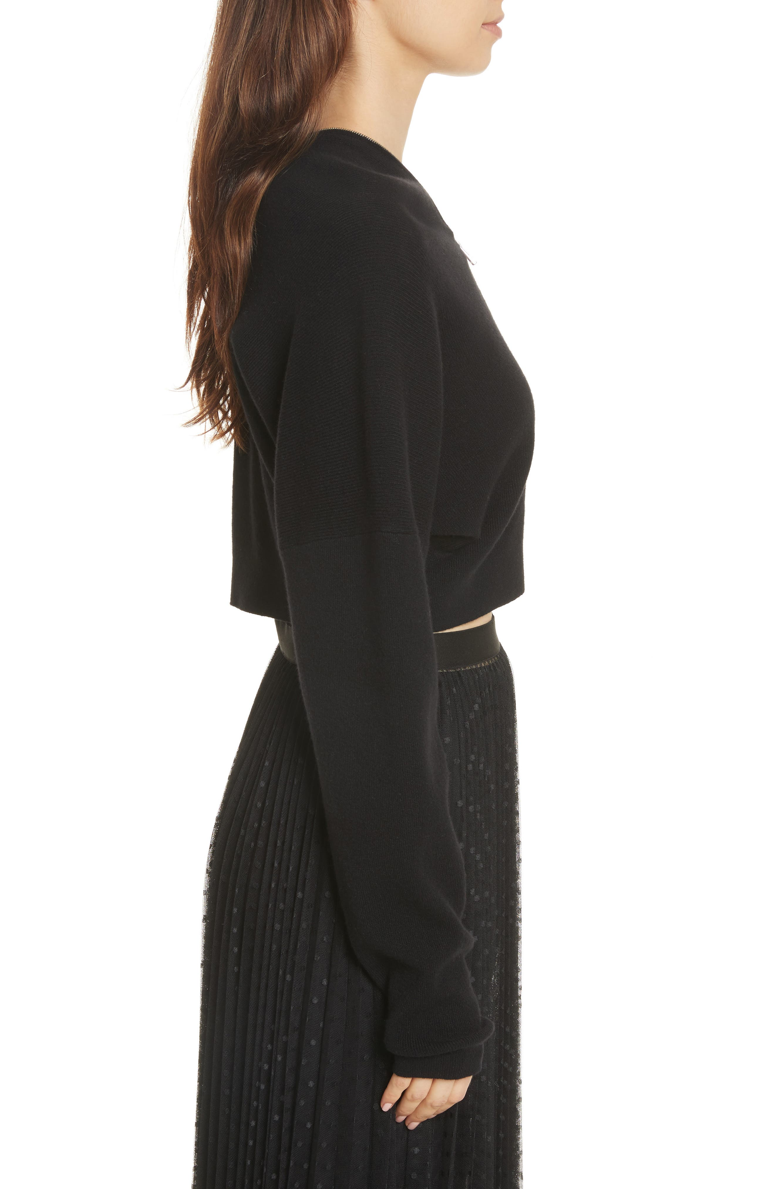 Wool & Cashmere Zip Neck Crop Sweater,                             Alternate thumbnail 3, color,                             001