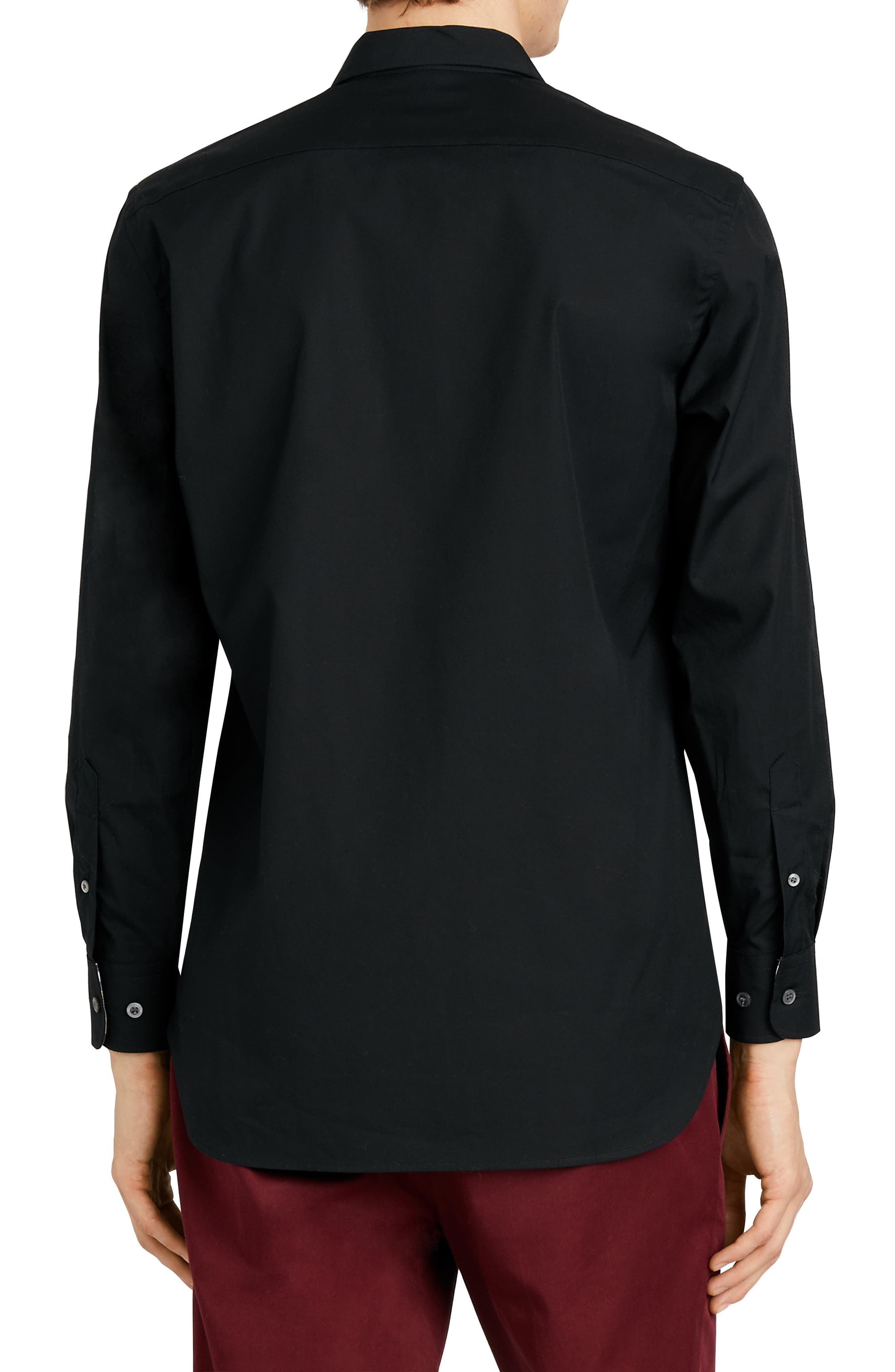 BURBERRY,                             William Stretch Poplin Sport Shirt,                             Alternate thumbnail 3, color,                             BLACK