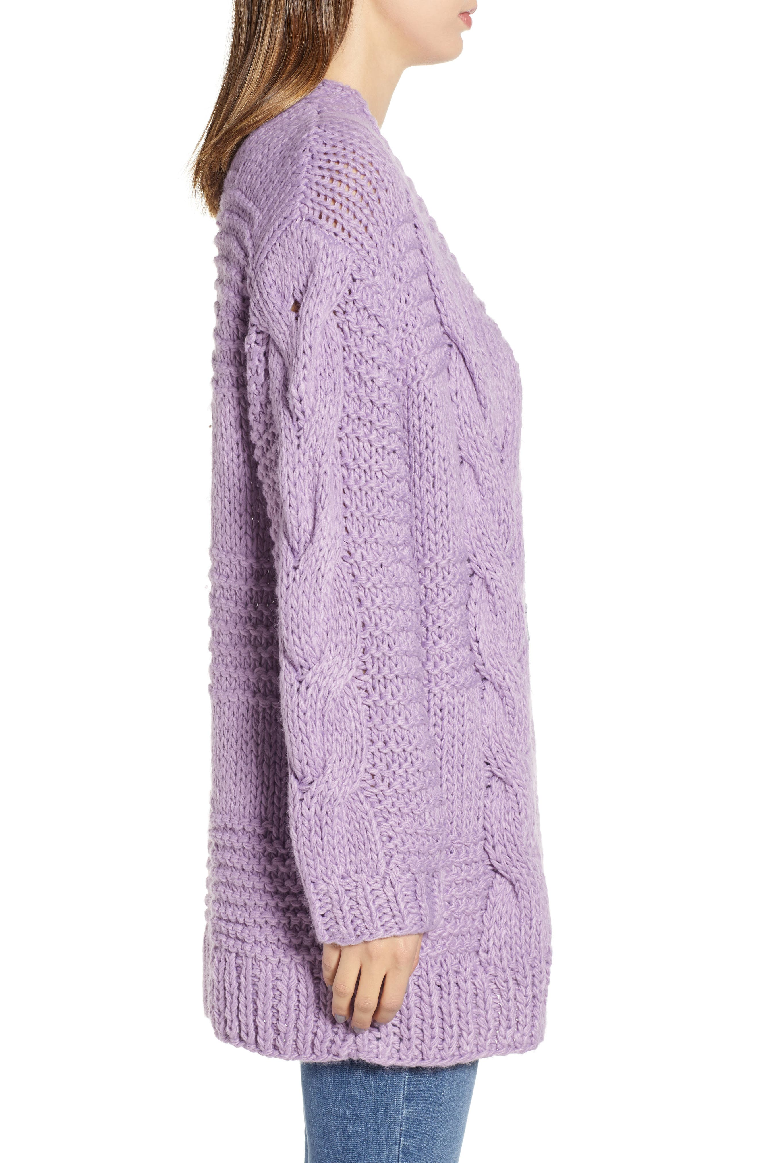 Cable Knit Oversized Cardigan,                             Alternate thumbnail 3, color,                             500