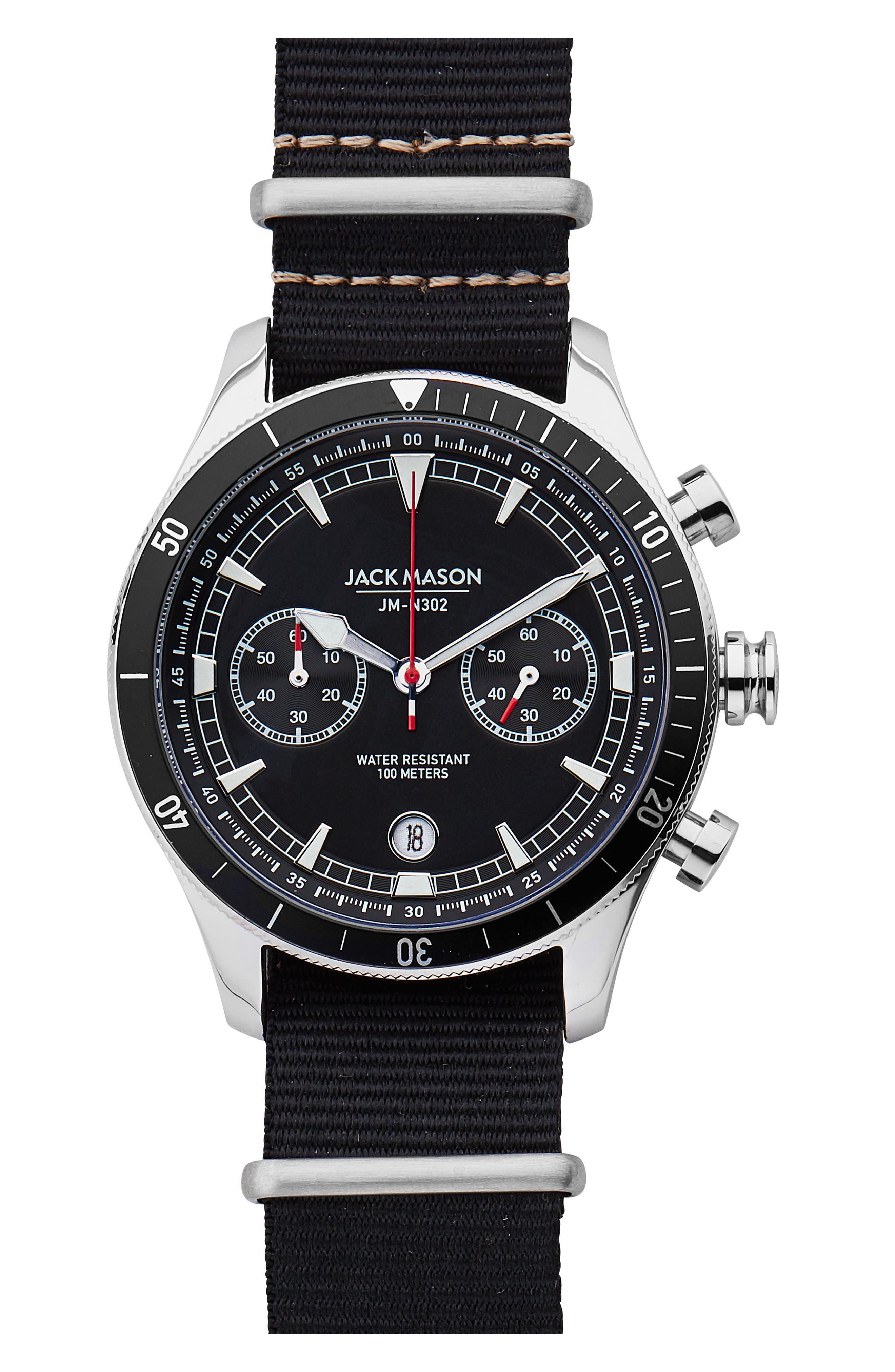 Nautical Chronograph NATO Strap Watch, 45mm,                             Main thumbnail 1, color,                             001