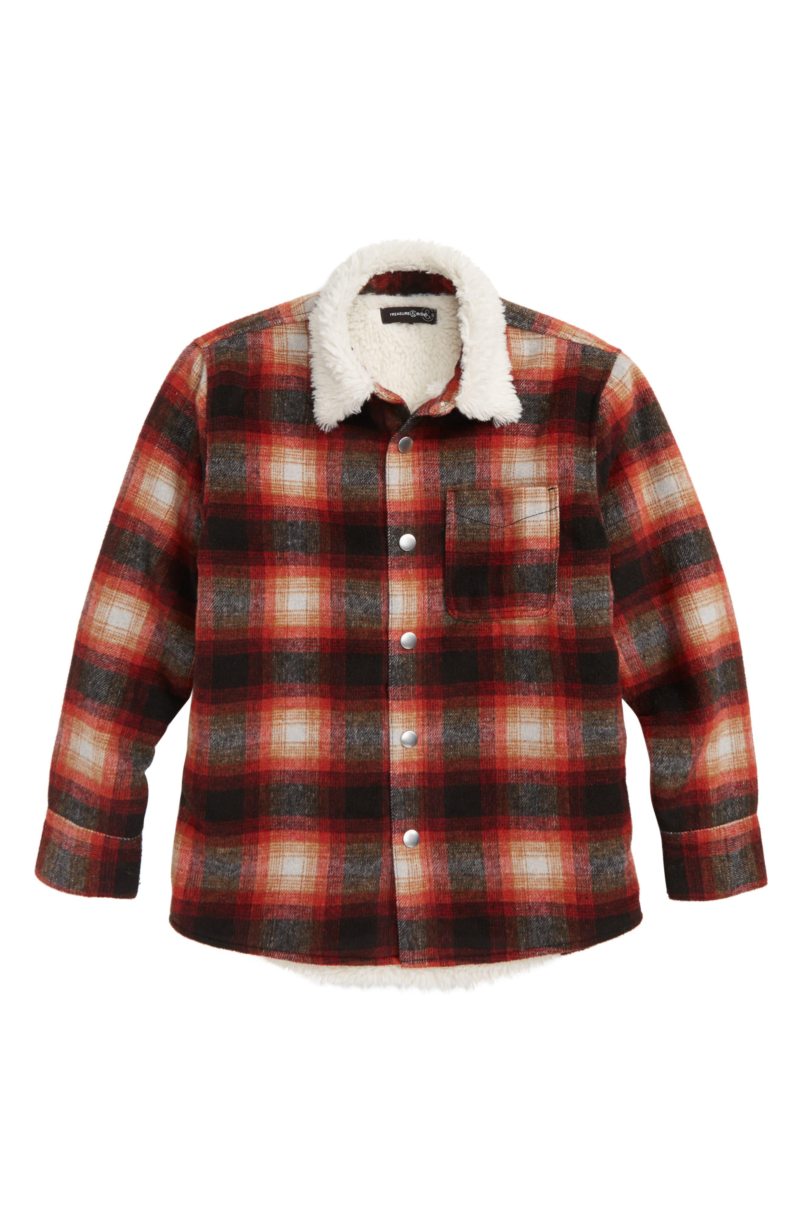 Faux Shearling Lined Shirt Jacket,                             Main thumbnail 1, color,                             GREY CHATEAU FADED PLAID