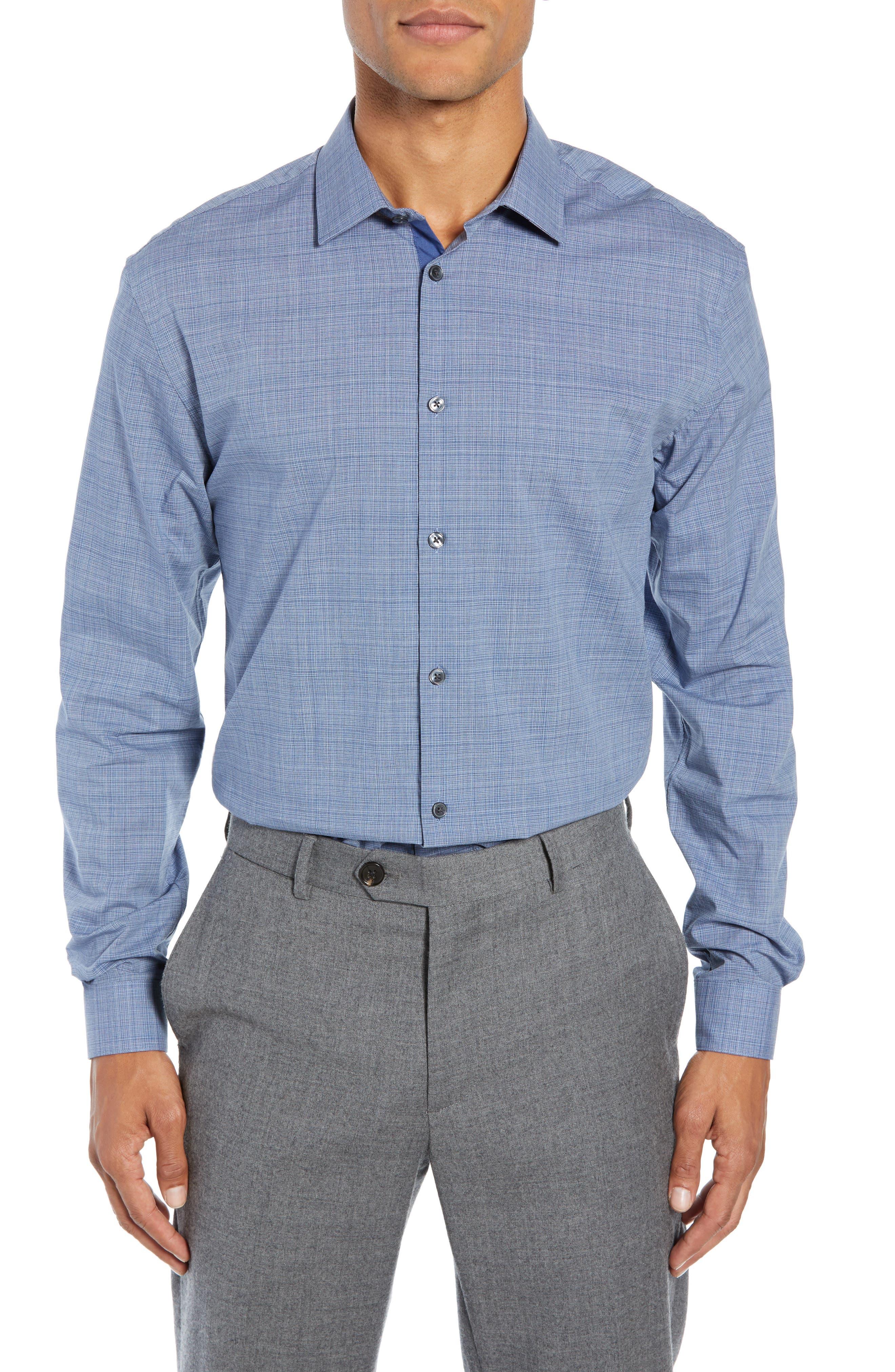 Slim Fit Check Dress Shirt,                         Main,                         color, BLUE HEATHER