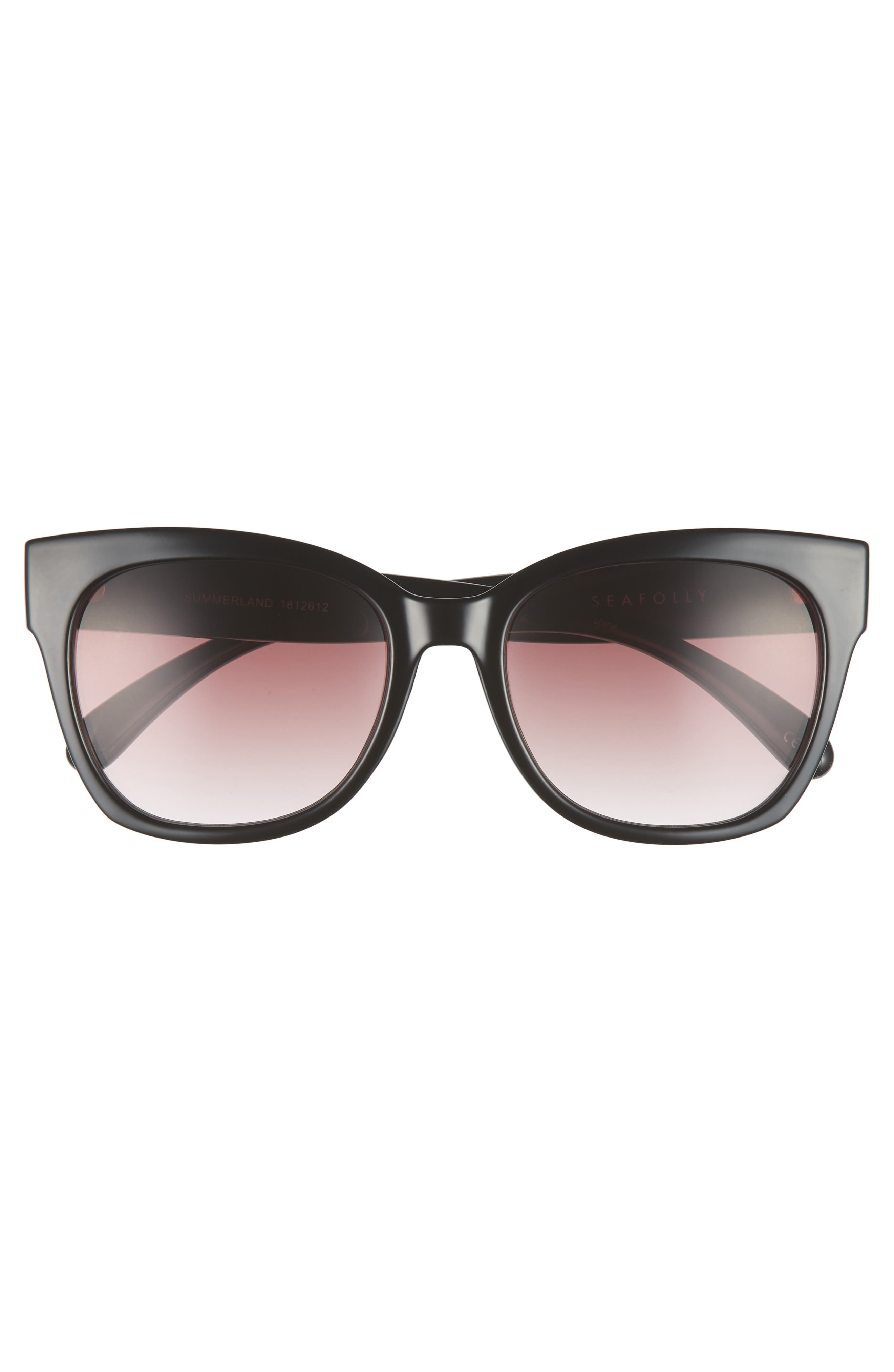 Summerland 55mm Cat Eye Sunglasses,                             Alternate thumbnail 3, color,                             BLACK