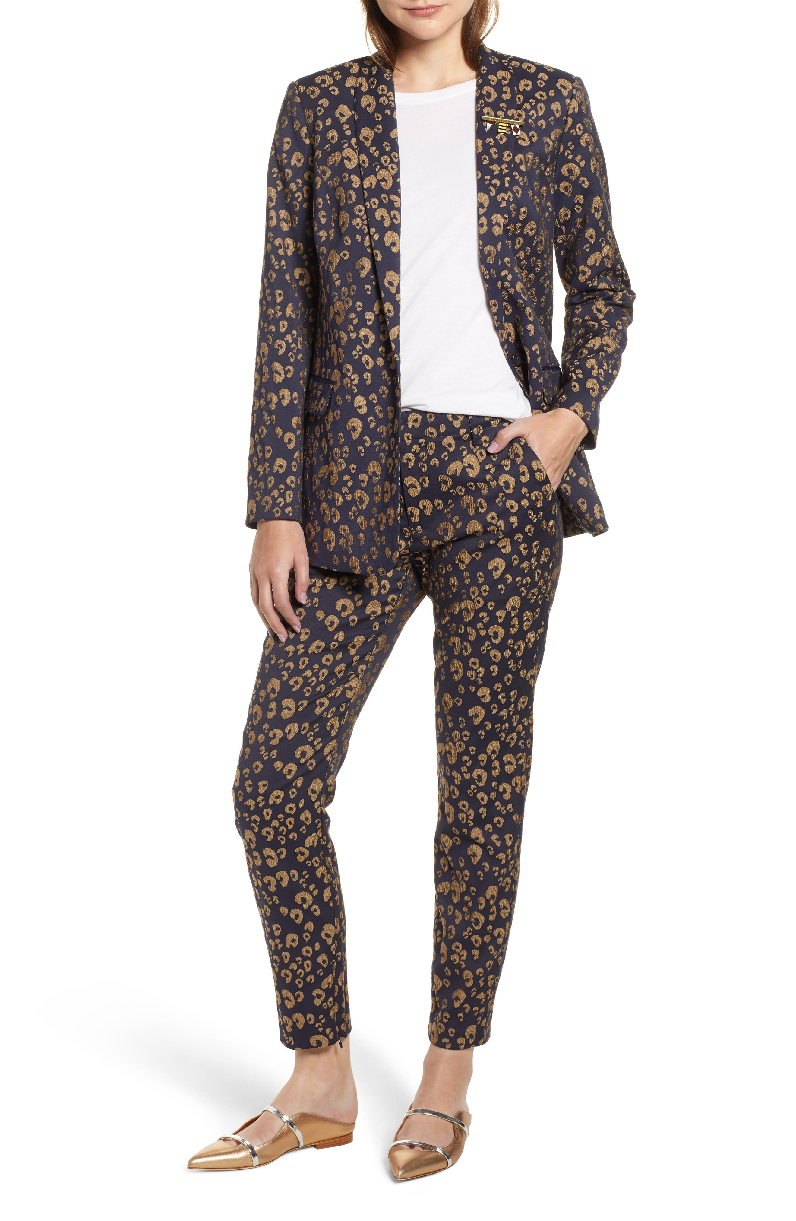 Stretch Jacquard Tailored Blazer,                             Alternate thumbnail 7, color,                             NAVY W/ GOLD LEOPARD PRINT