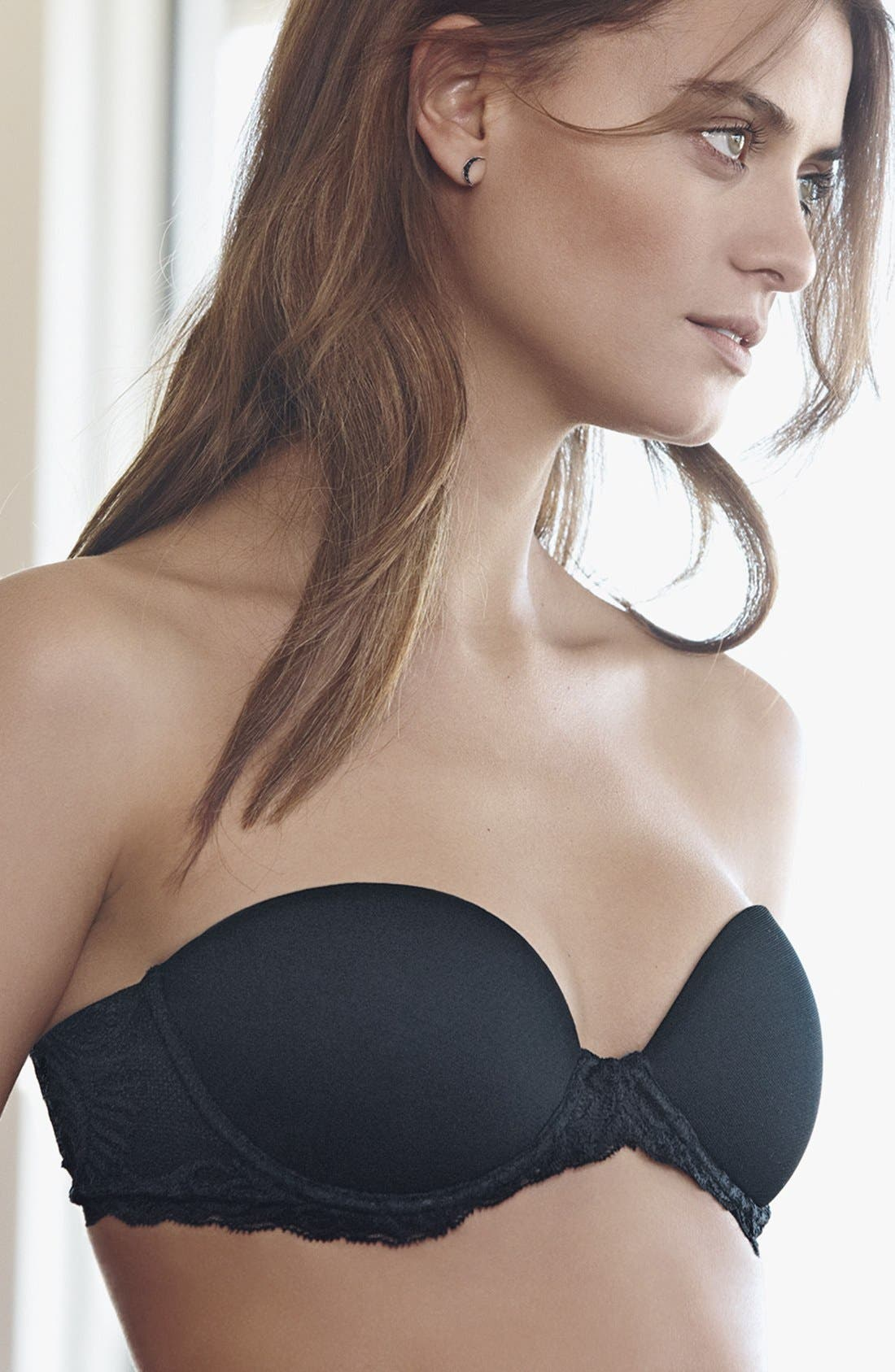 'Feathers' Underwire Convertible Strapless Bra,                             Alternate thumbnail 2, color,                             BLACK
