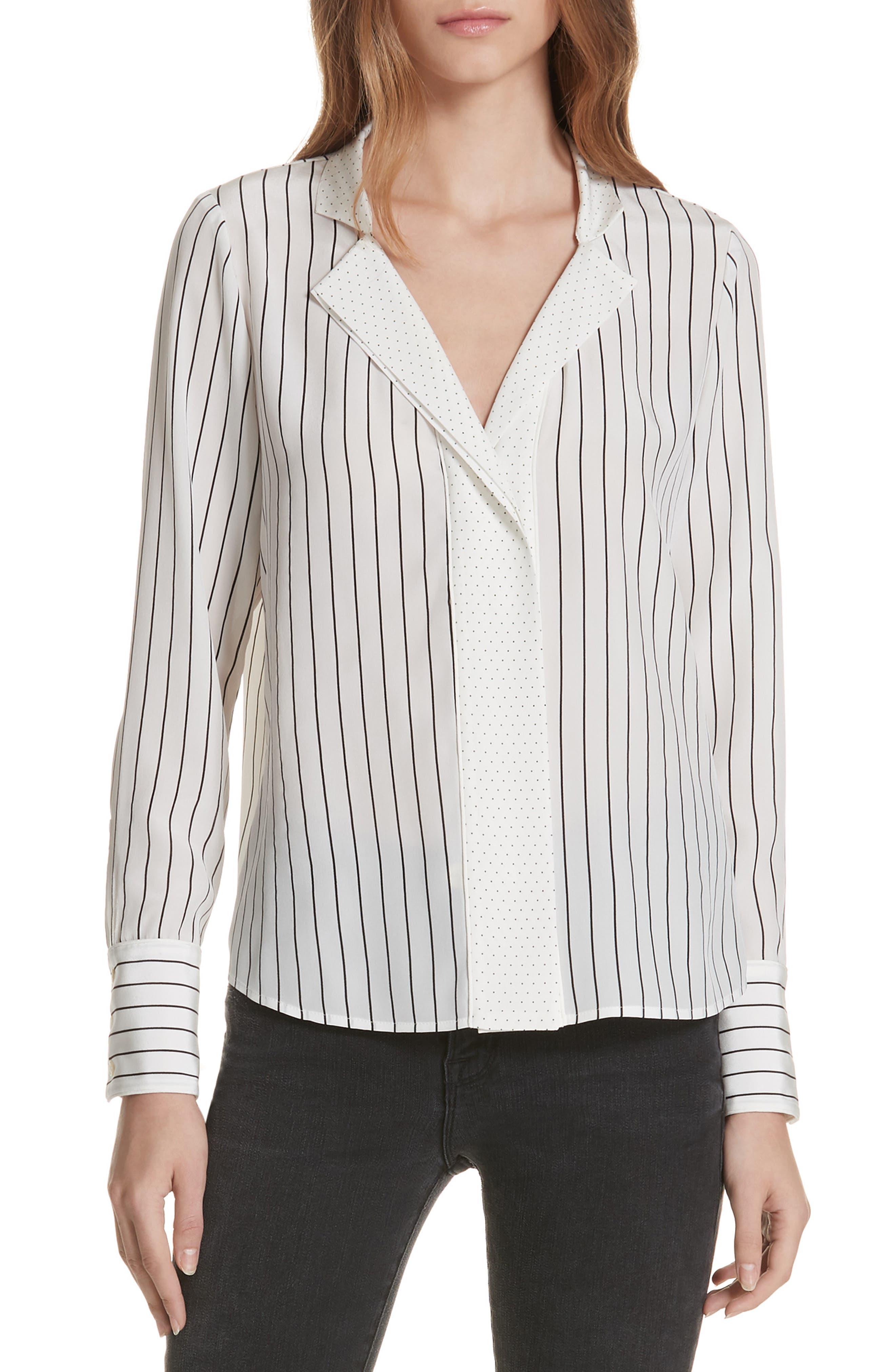 Notch Contrast Placket Silk Blouse,                         Main,                         color, OFF WHITE MULTI
