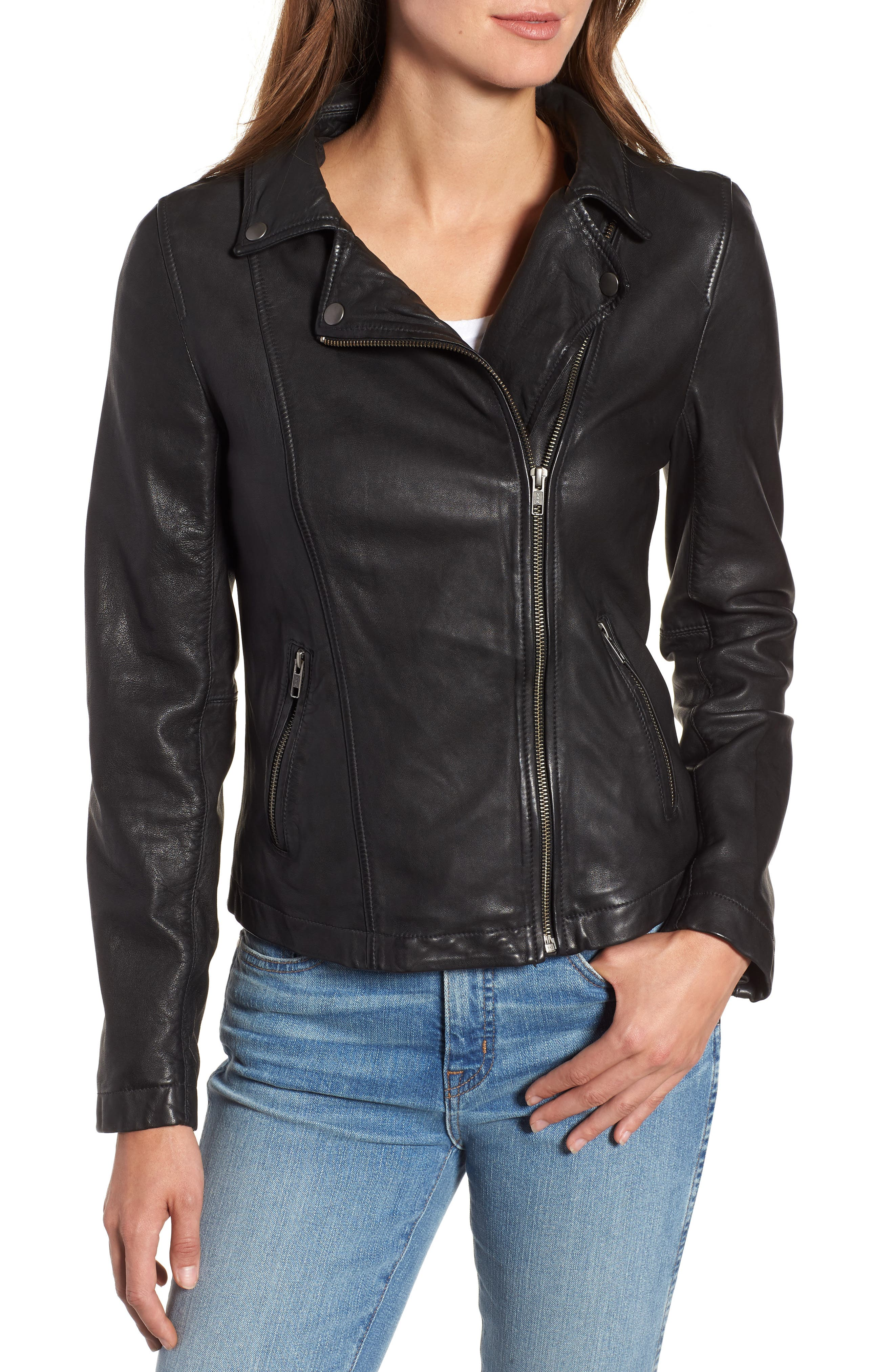 Leather Moto Jacket with Removable Hood,                             Alternate thumbnail 4, color,                             001