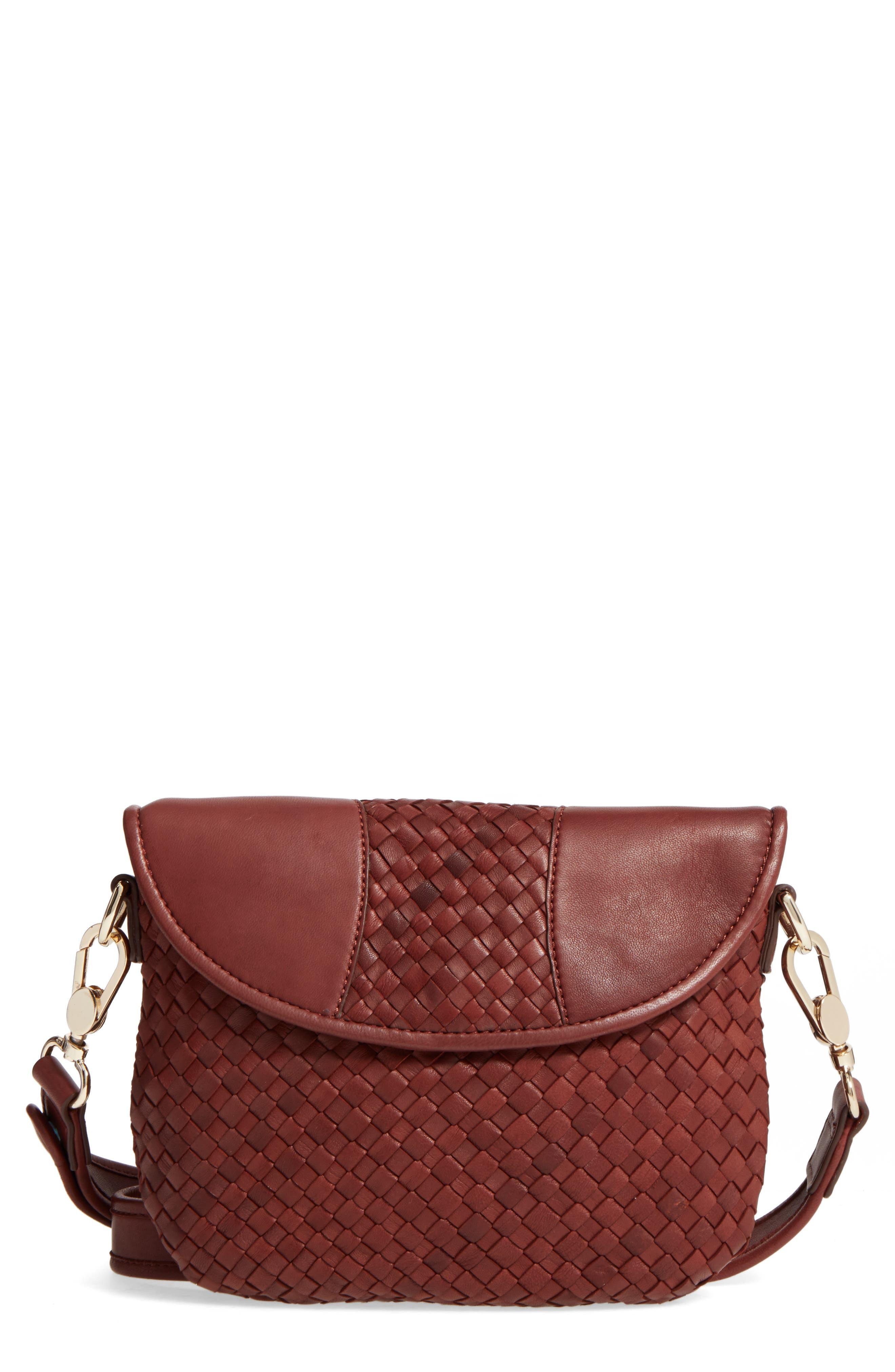 Nola Woven Leather Crossbody,                         Main,                         color, LUGGAGE