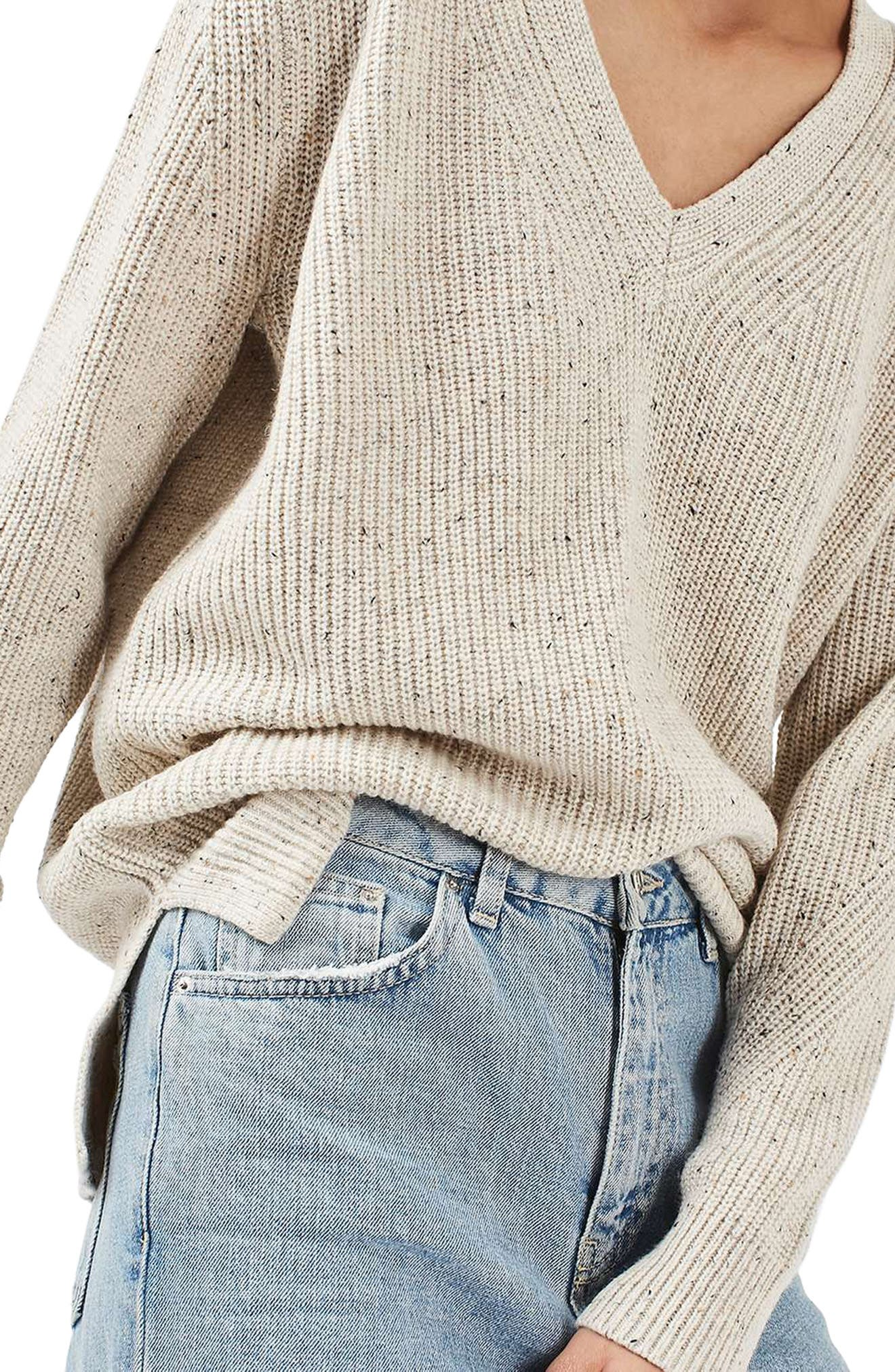 Ribbed V-Neck Sweater,                             Alternate thumbnail 4, color,                             101