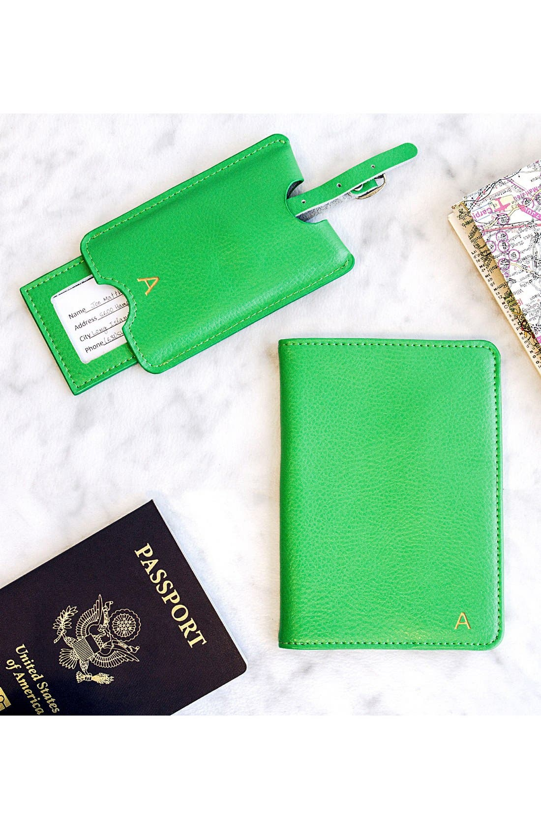 Monogram Passport Case & Luggage Tag,                             Alternate thumbnail 4, color,                             GREEN