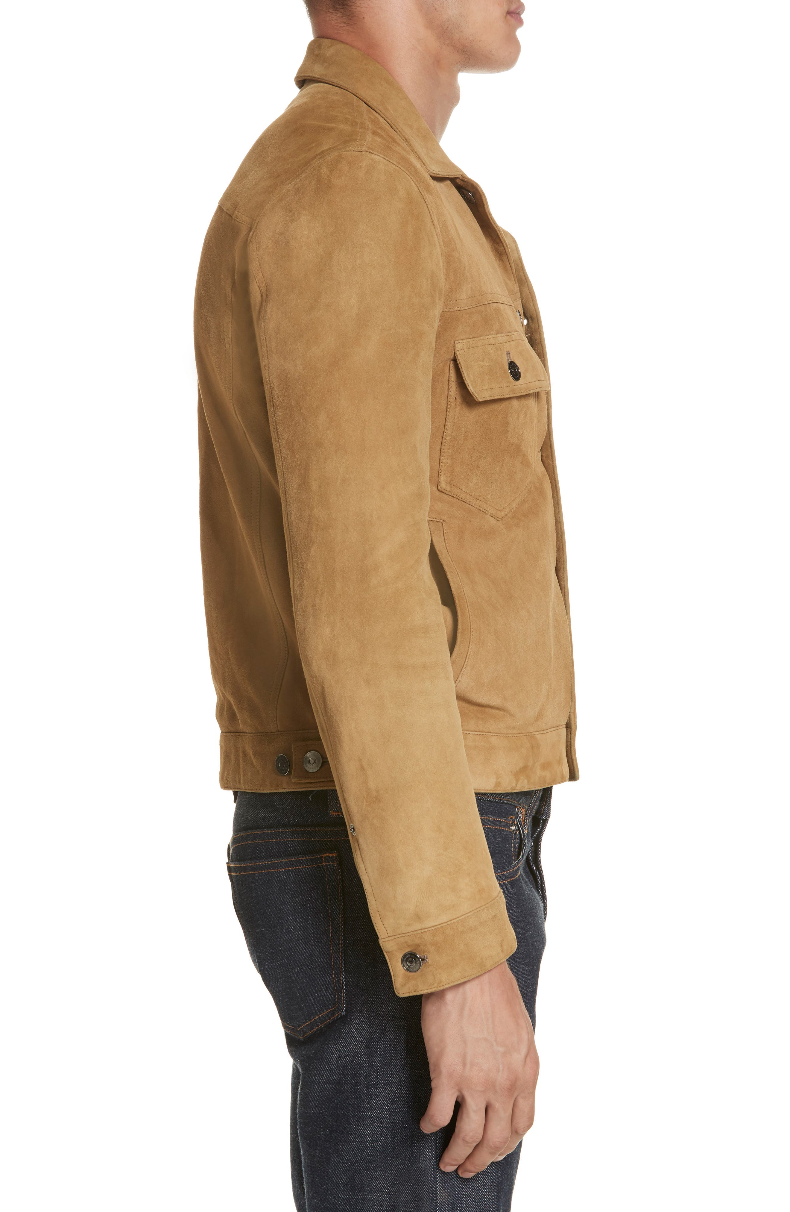 Suede Western Jacket,                             Alternate thumbnail 3, color,                             WALNUT