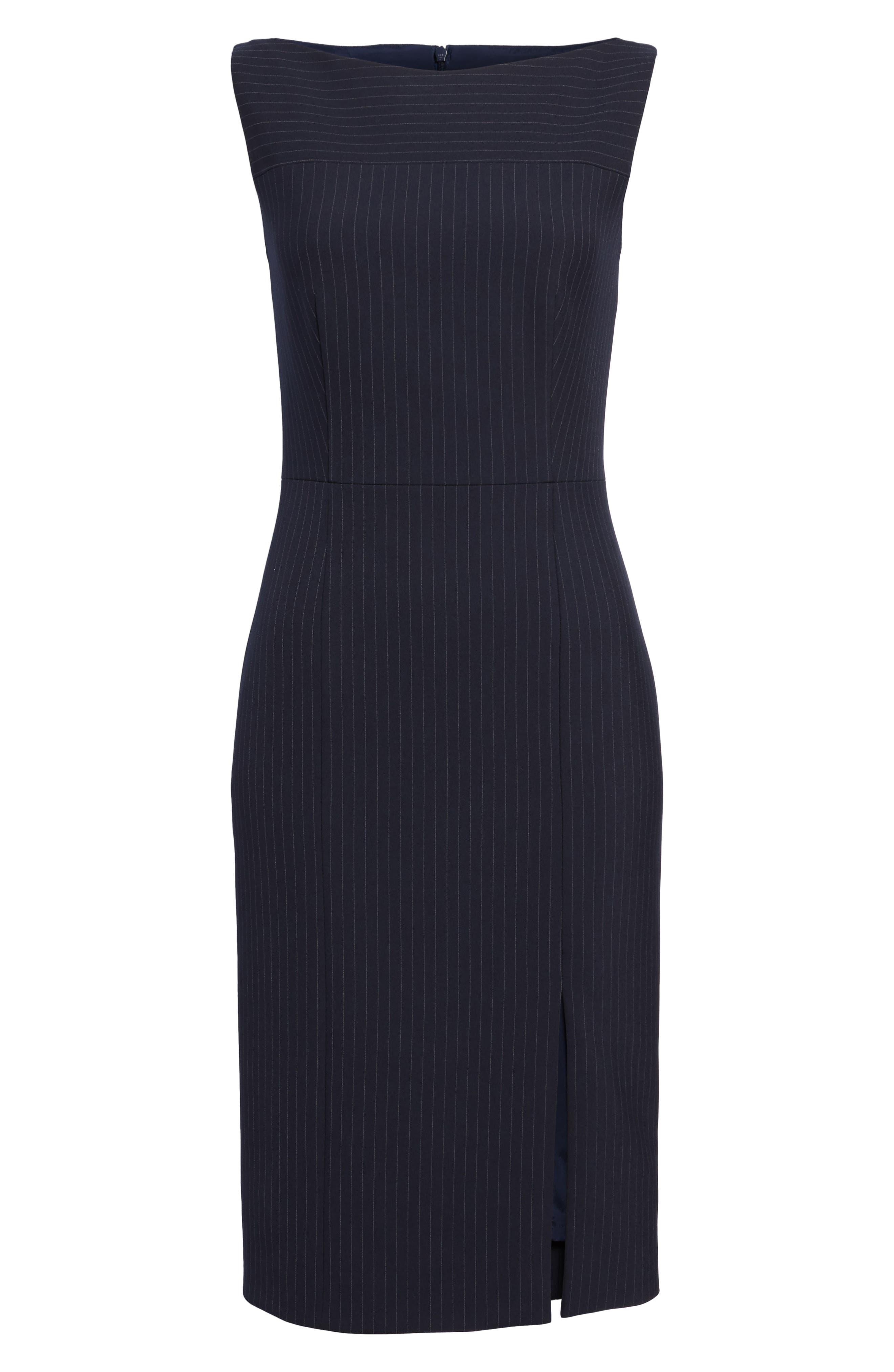 Denaka Pinstripe Sheath Dress,                             Alternate thumbnail 6, color,