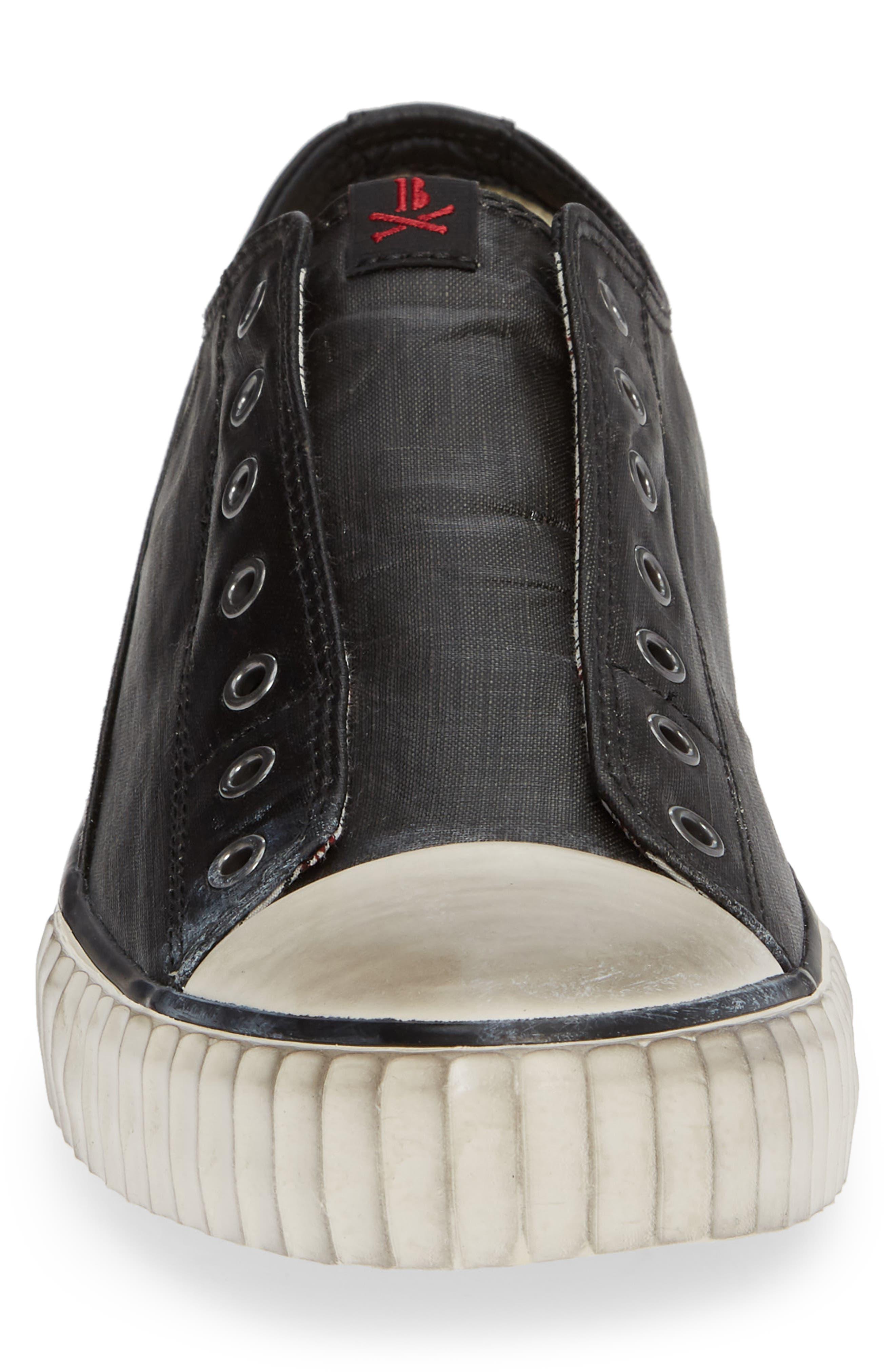 Bootleg Linen Laceless Sneaker,                             Alternate thumbnail 4, color,                             BLACK COATED LINEN