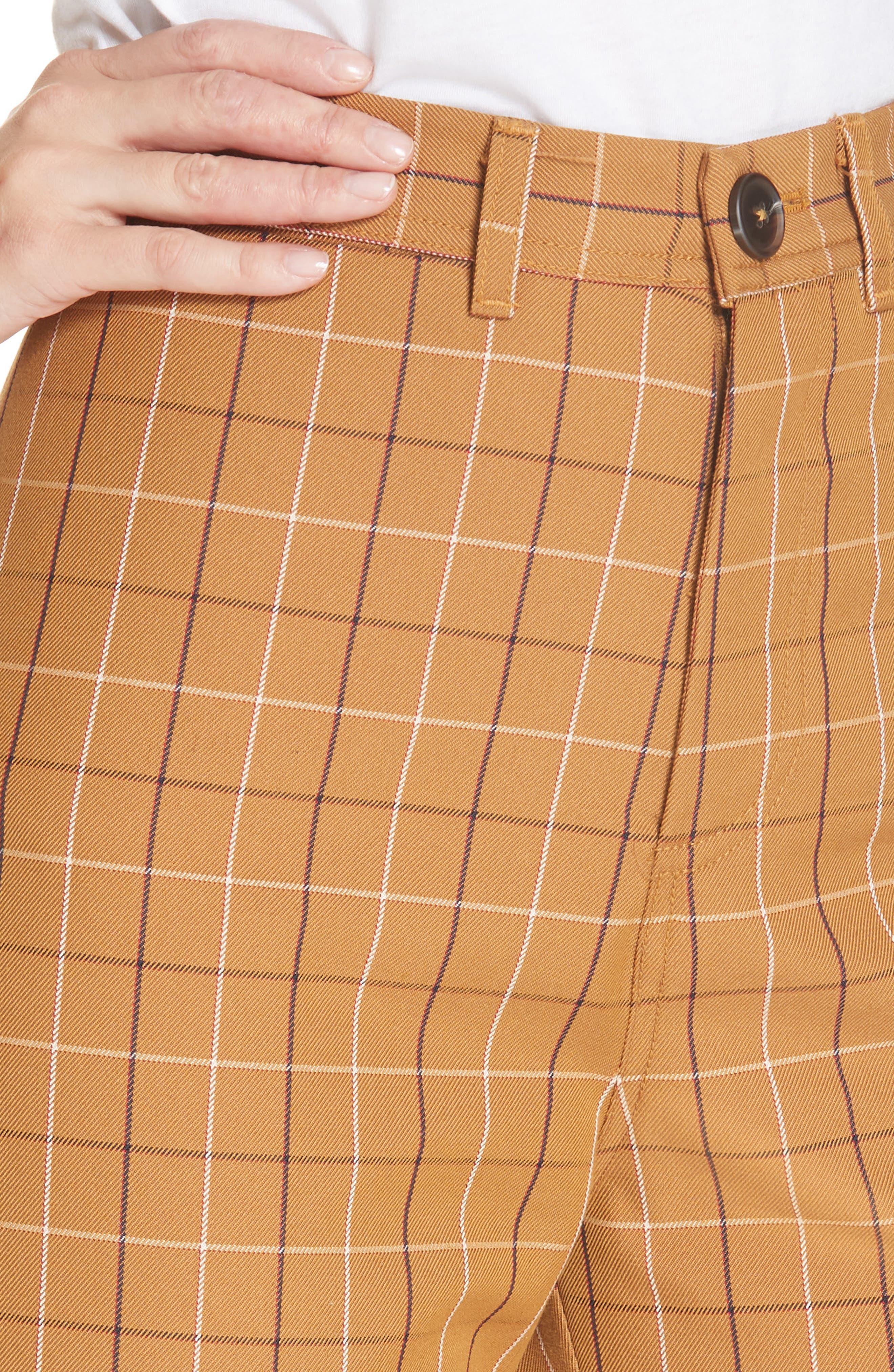 SEA,                             Poirot Plaid Cuff Pants,                             Alternate thumbnail 4, color,                             CARAMEL MULTI