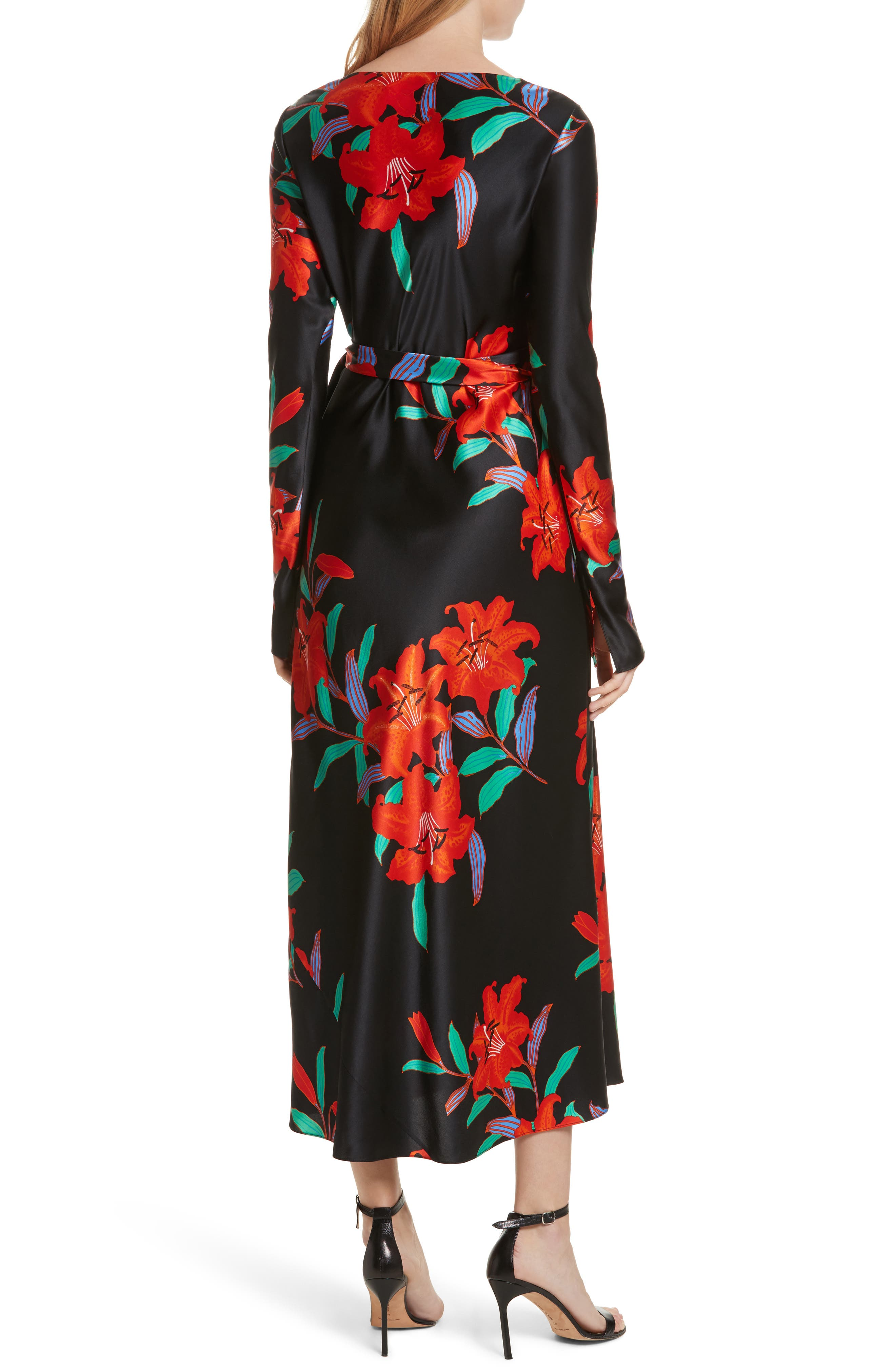 Diane von Furstenberg Floral Print Wrap Silk Dress,                             Alternate thumbnail 2, color,                             001