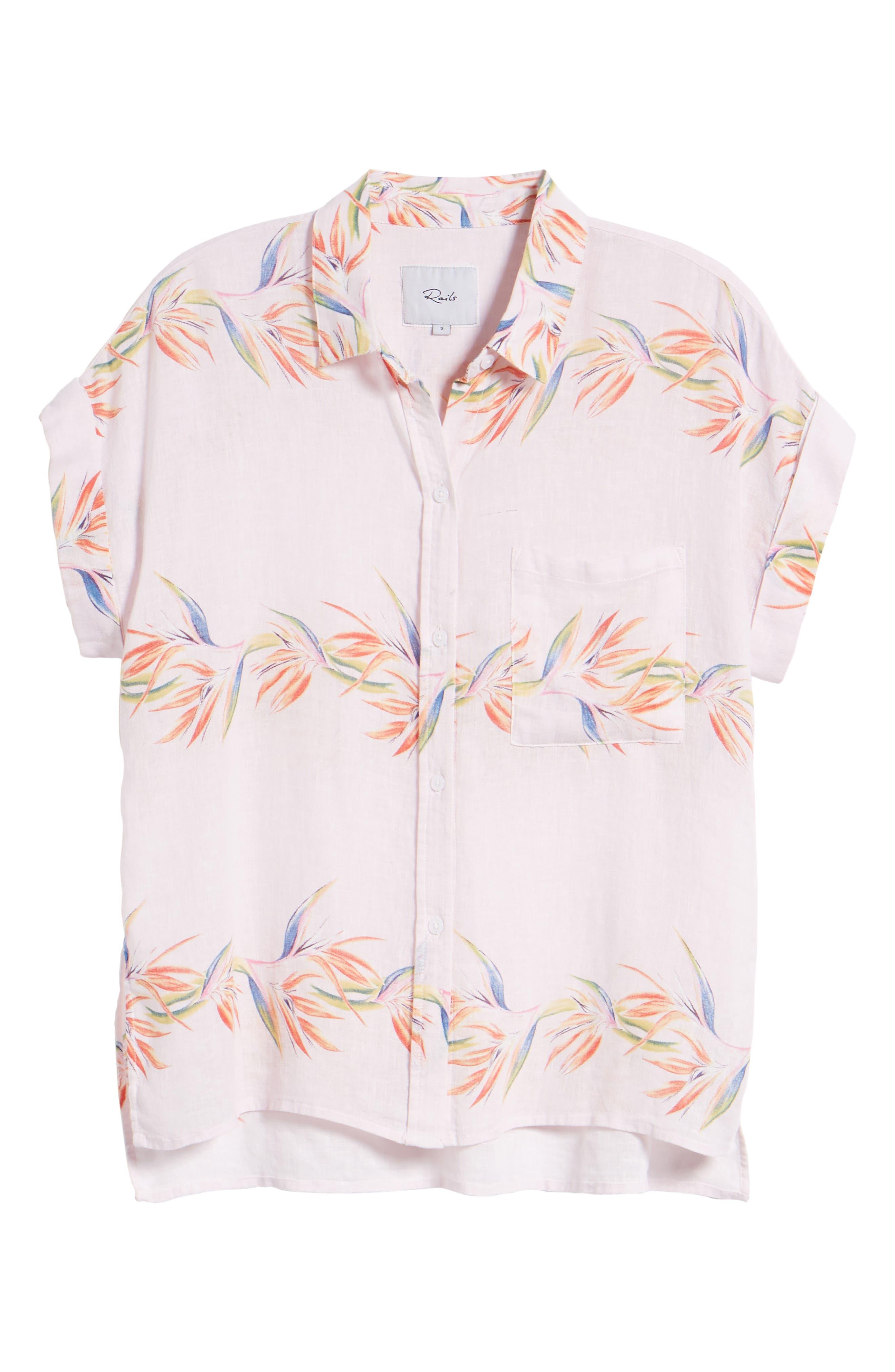 Whitney Print Shirt,                             Alternate thumbnail 7, color,                             BLUSH BIRDS OF PARADISE