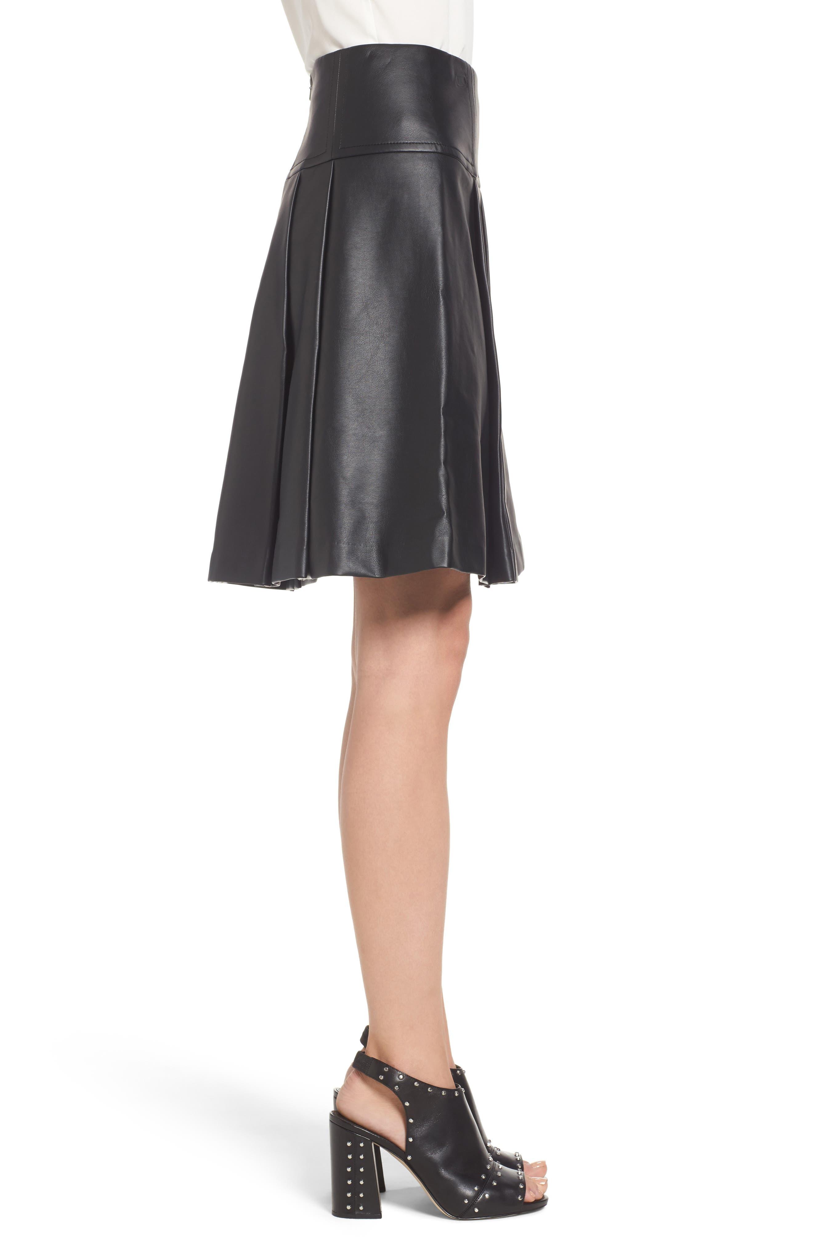 Pleat Faux Leather Skirt,                             Alternate thumbnail 3, color,                             001