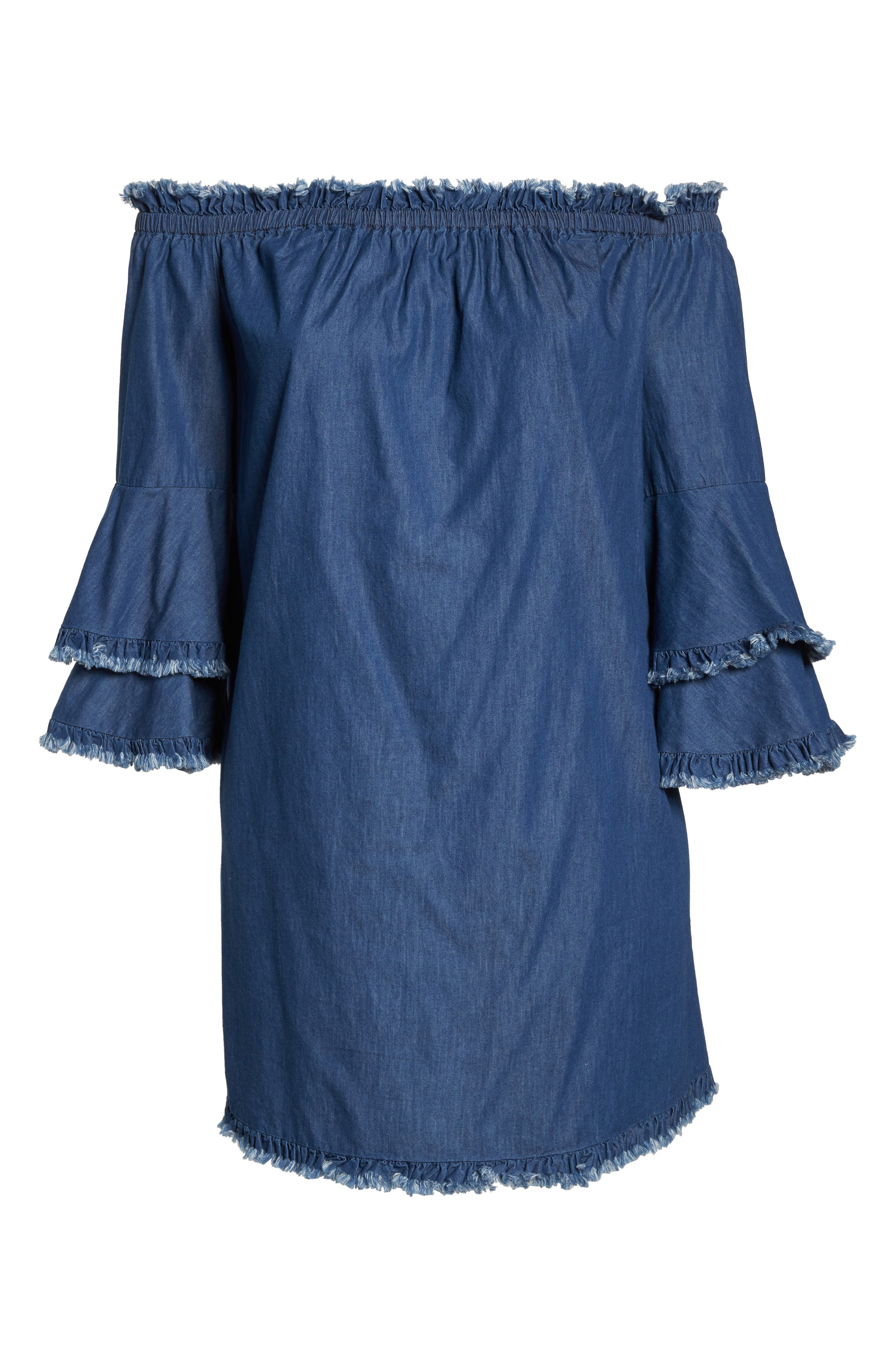 Bell Sleeve Off the Shoulder Denim Shift Dress,                             Alternate thumbnail 7, color,                             INDIGO
