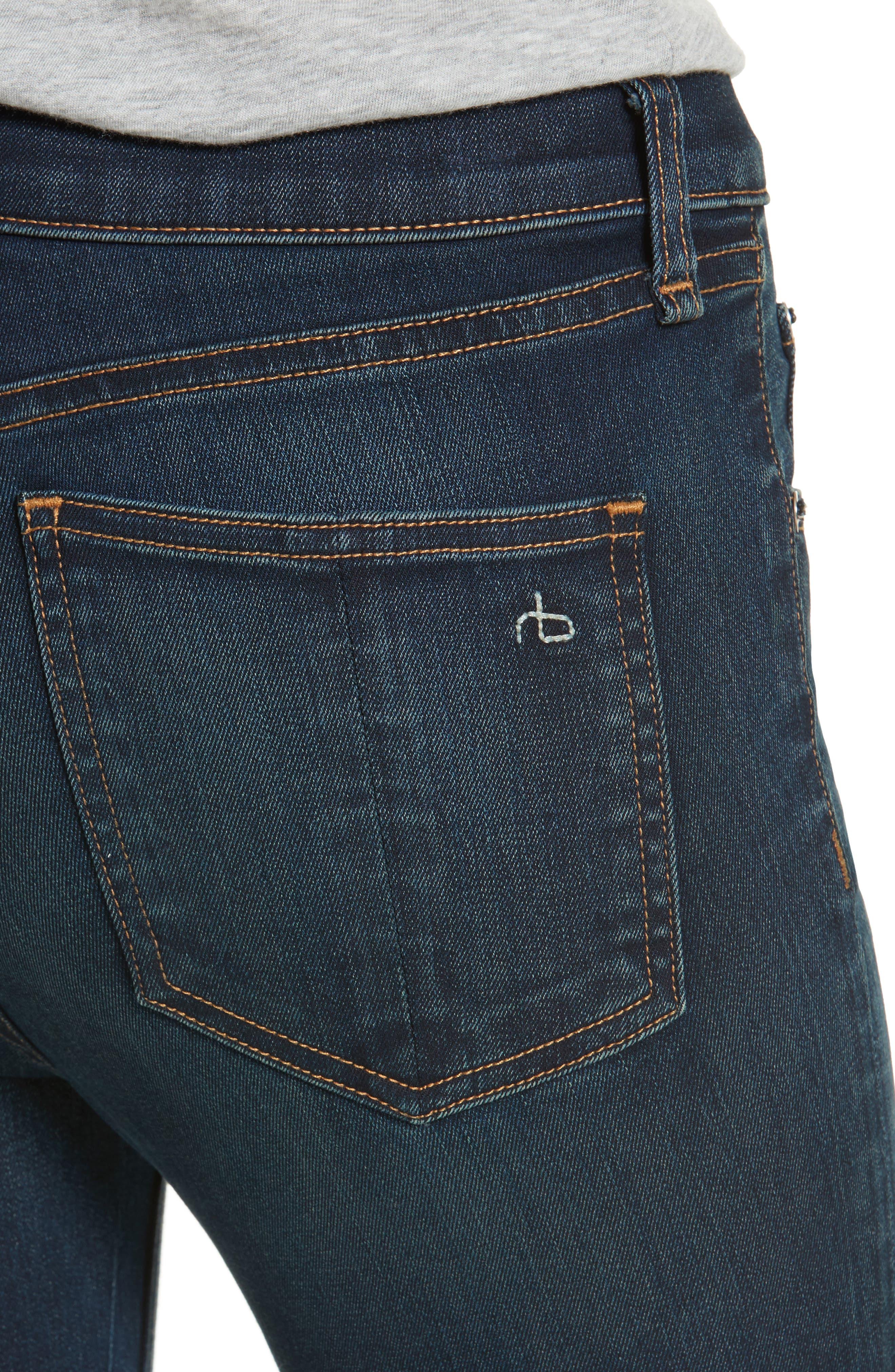 Hana High Waist Crop Flare Jeans,                             Alternate thumbnail 4, color,                             421