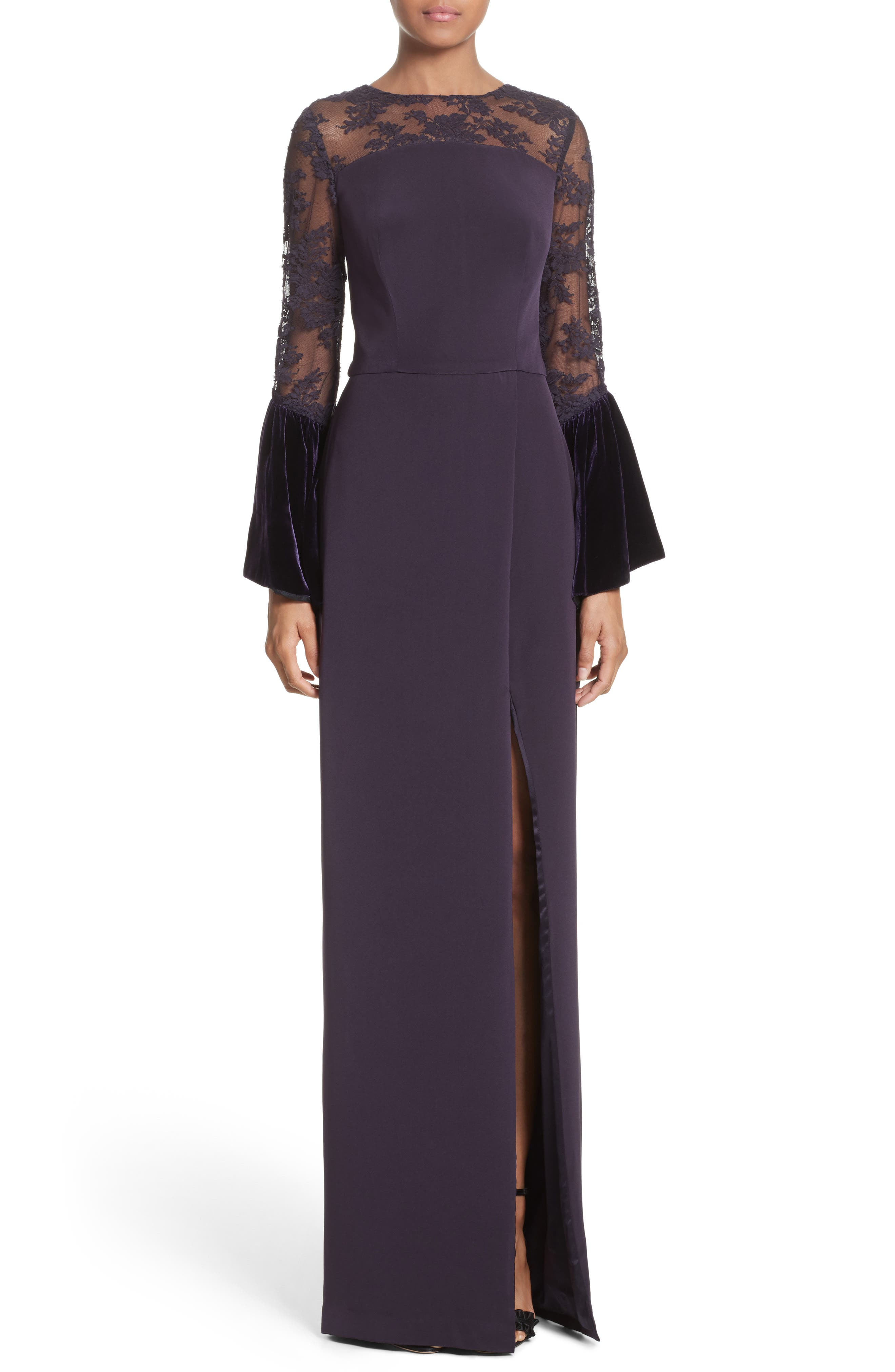Lace & Velvet Trim Crepe Gown,                             Main thumbnail 1, color,                             500