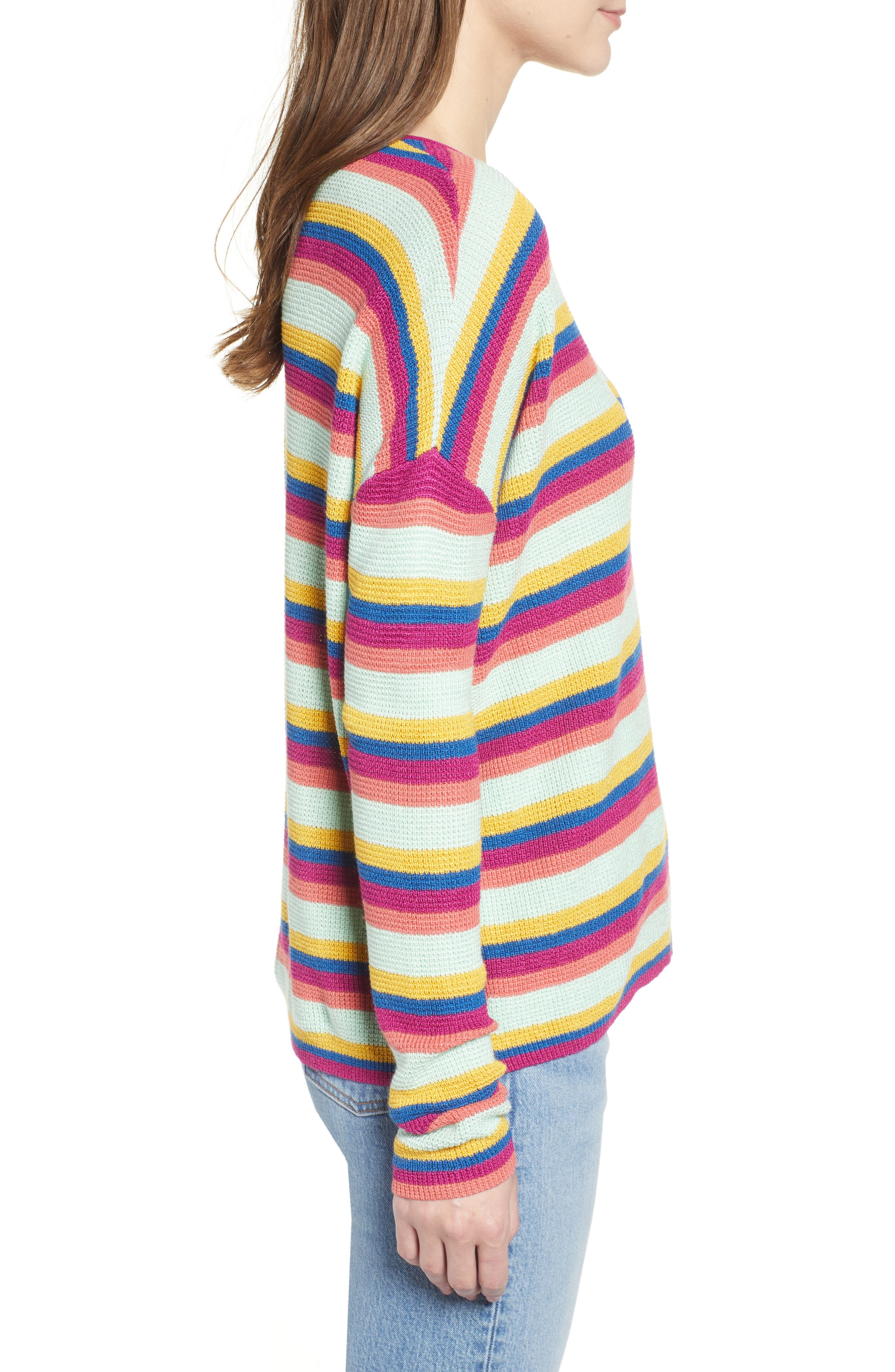 BP.,                             Stripe Thermal Stitch Sweater,                             Alternate thumbnail 4, color,                             PINK YARROW EMMA STRIPE
