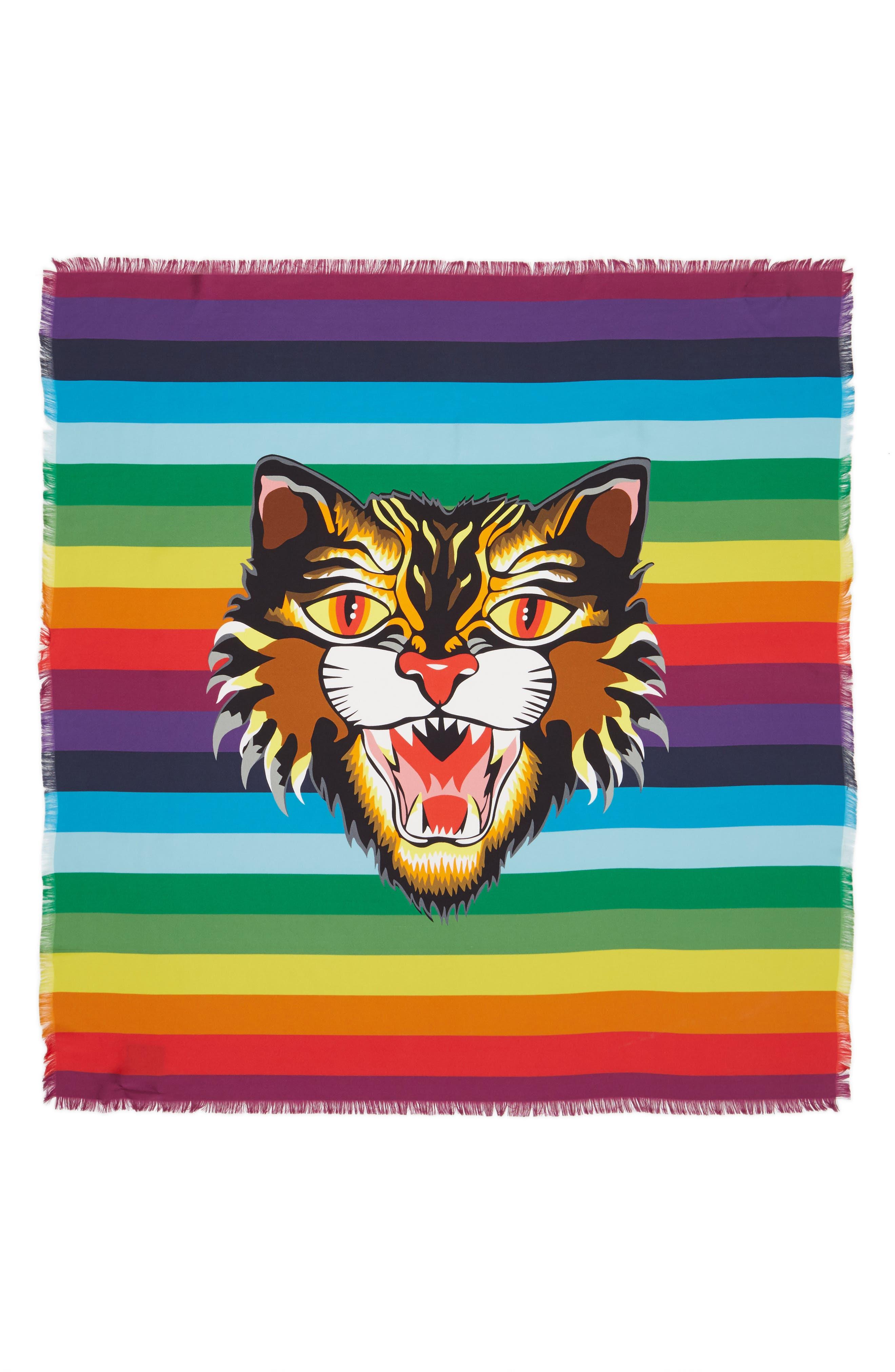 Crazy Tiger Square Silk Scarf,                             Alternate thumbnail 3, color,                             MULTICOLOR