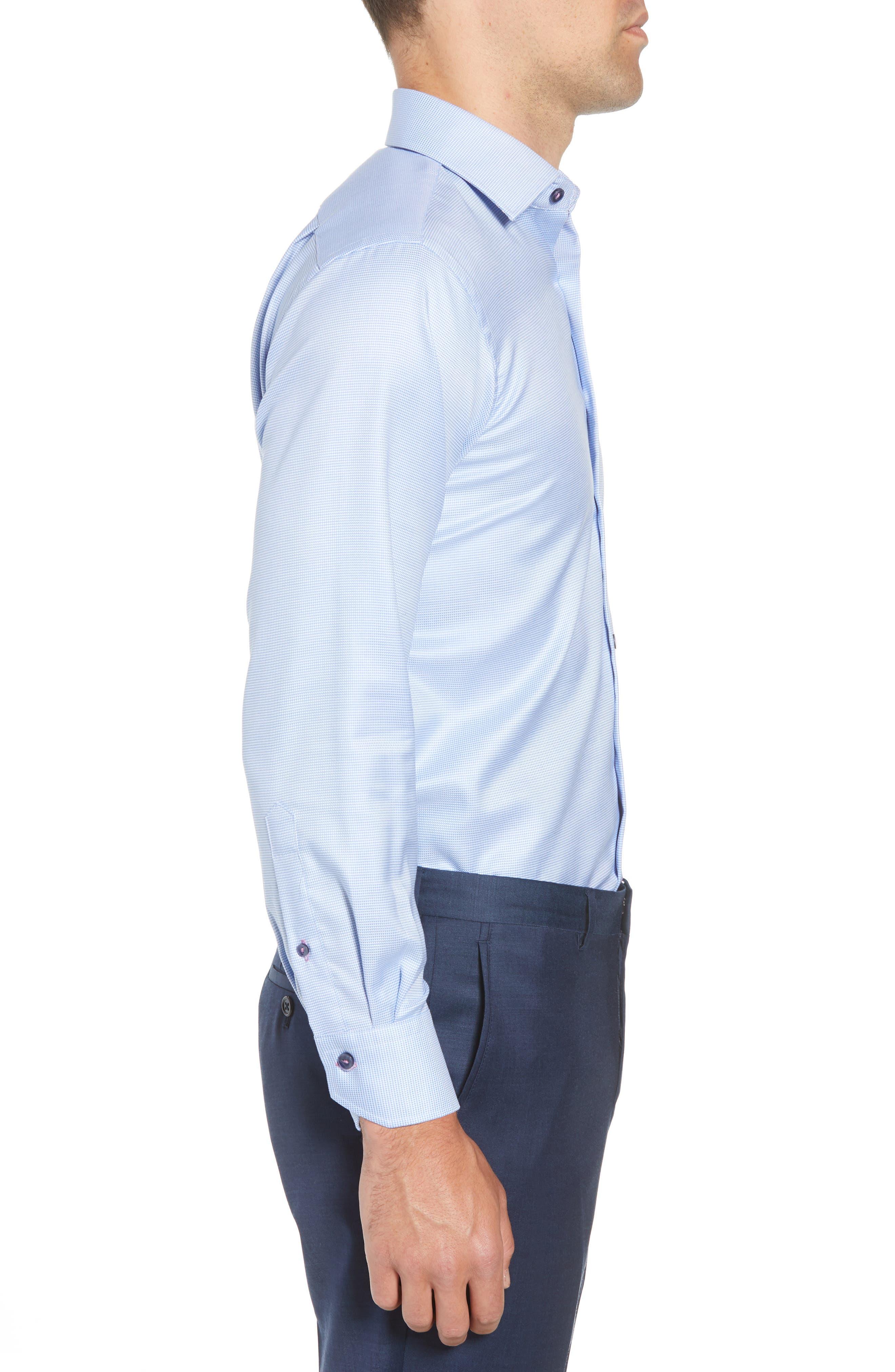 Trim Fit Houndstooth Dress Shirt,                             Alternate thumbnail 4, color,                             LIGHT BLUE