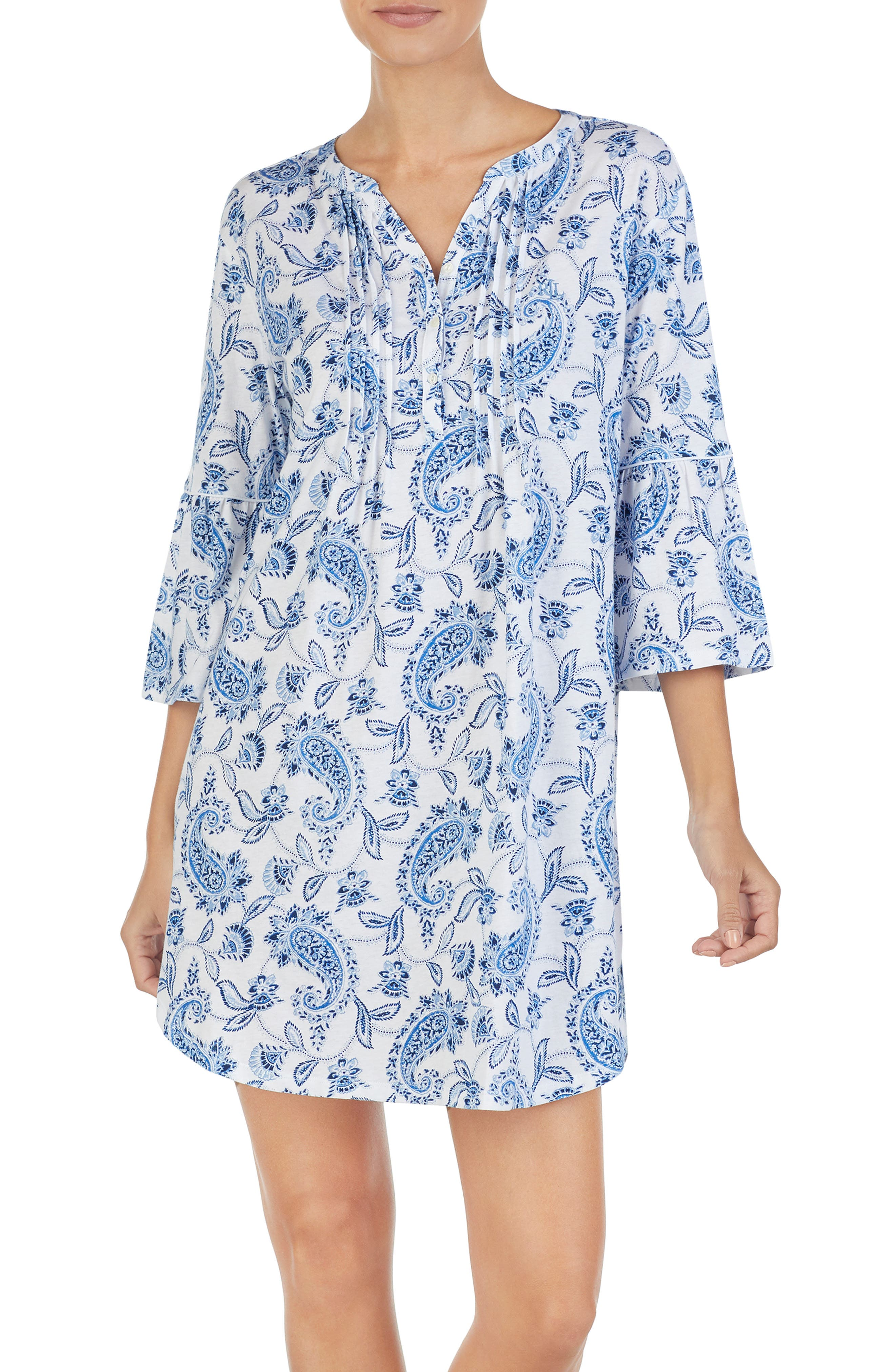 Short Nightgown in White/ Print