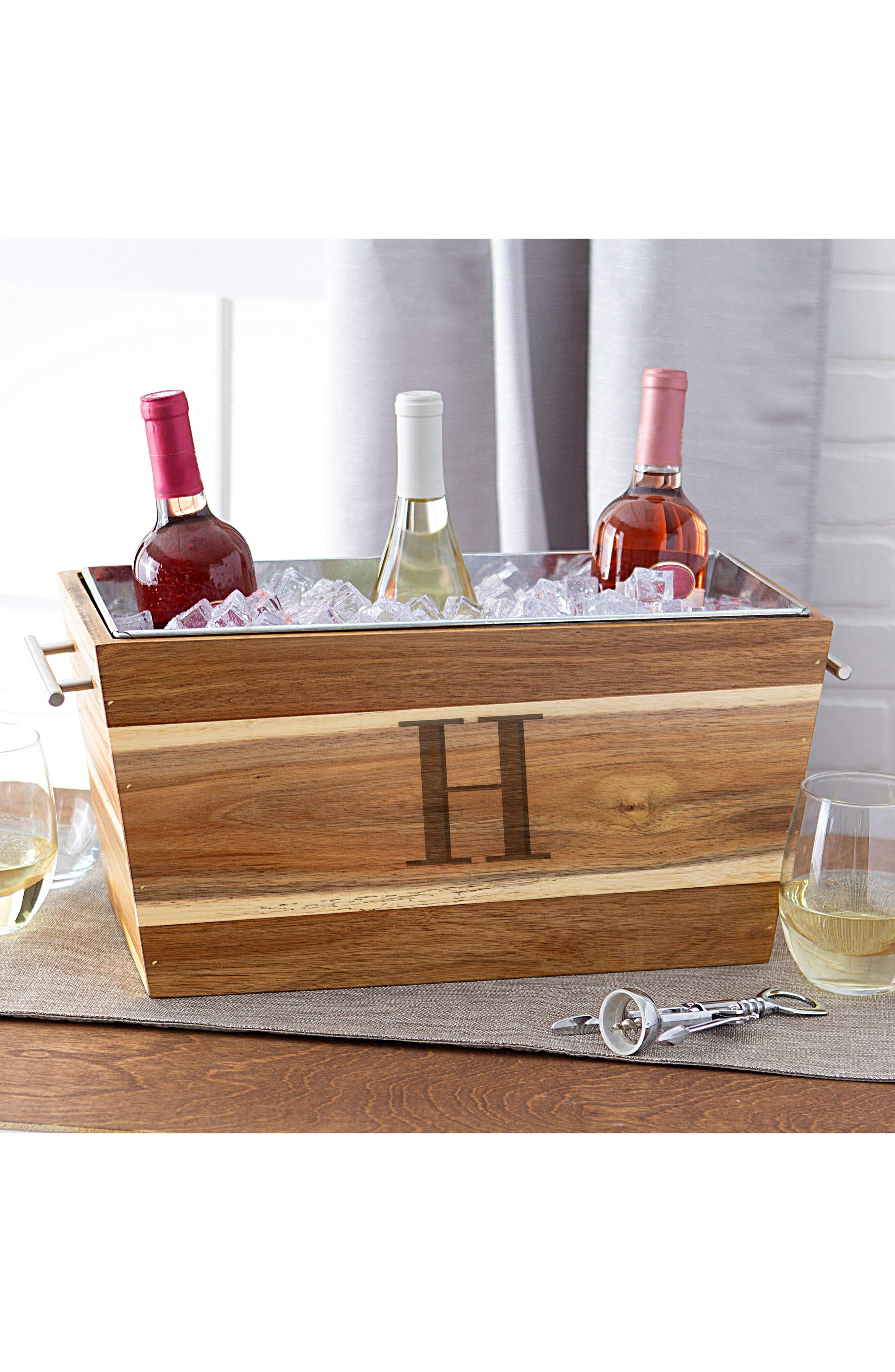 Monogram Wood Beverage Trough,                             Alternate thumbnail 5, color,                             200