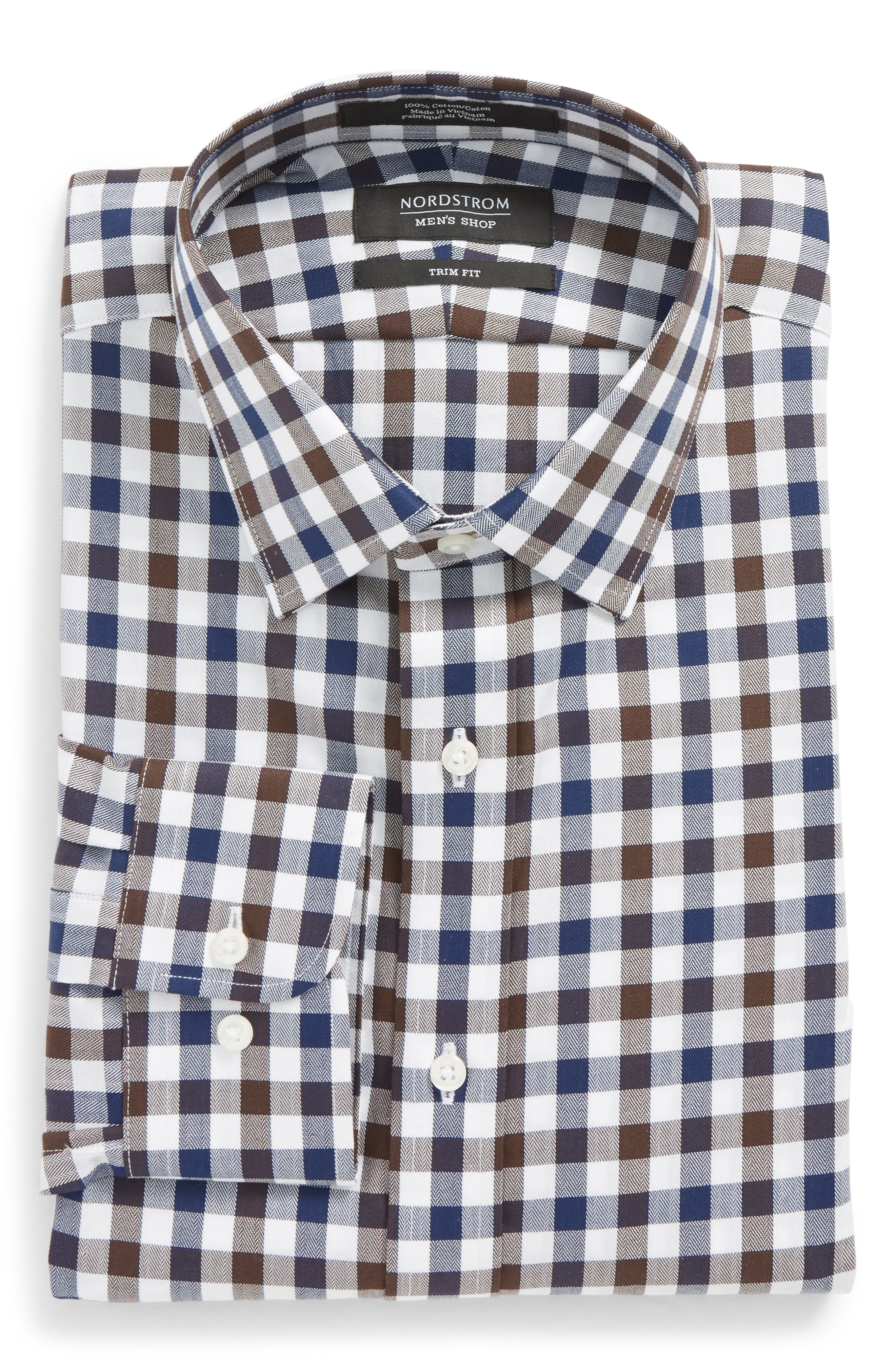 Trim Fit Check Dress Shirt,                         Main,                         color, 210