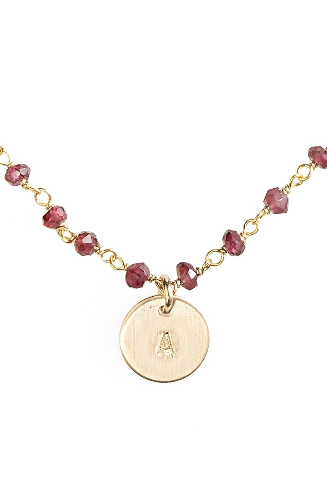 14k-Gold Fill Mini Initial Disc Garnet Chain Necklace,                         Main,                         color, 710