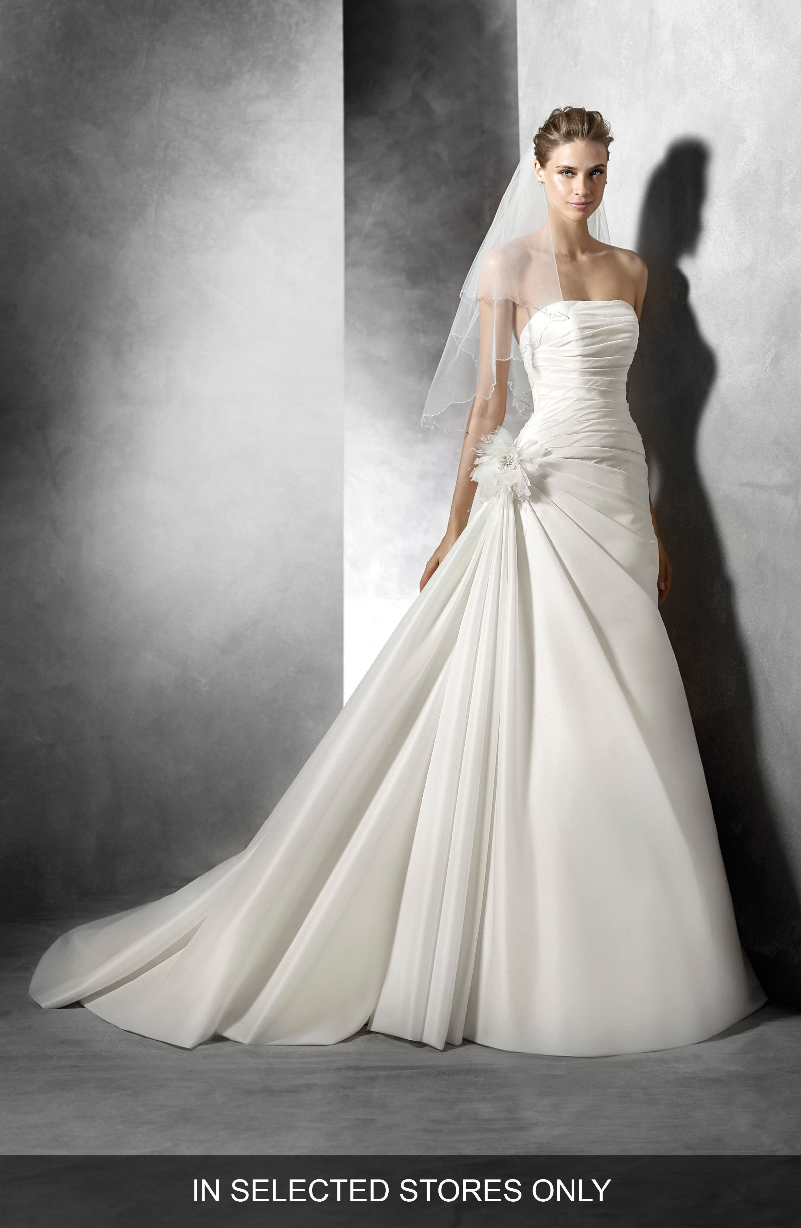Semilla Strapless Ruched A-Line Gown,                             Main thumbnail 1, color,                             900