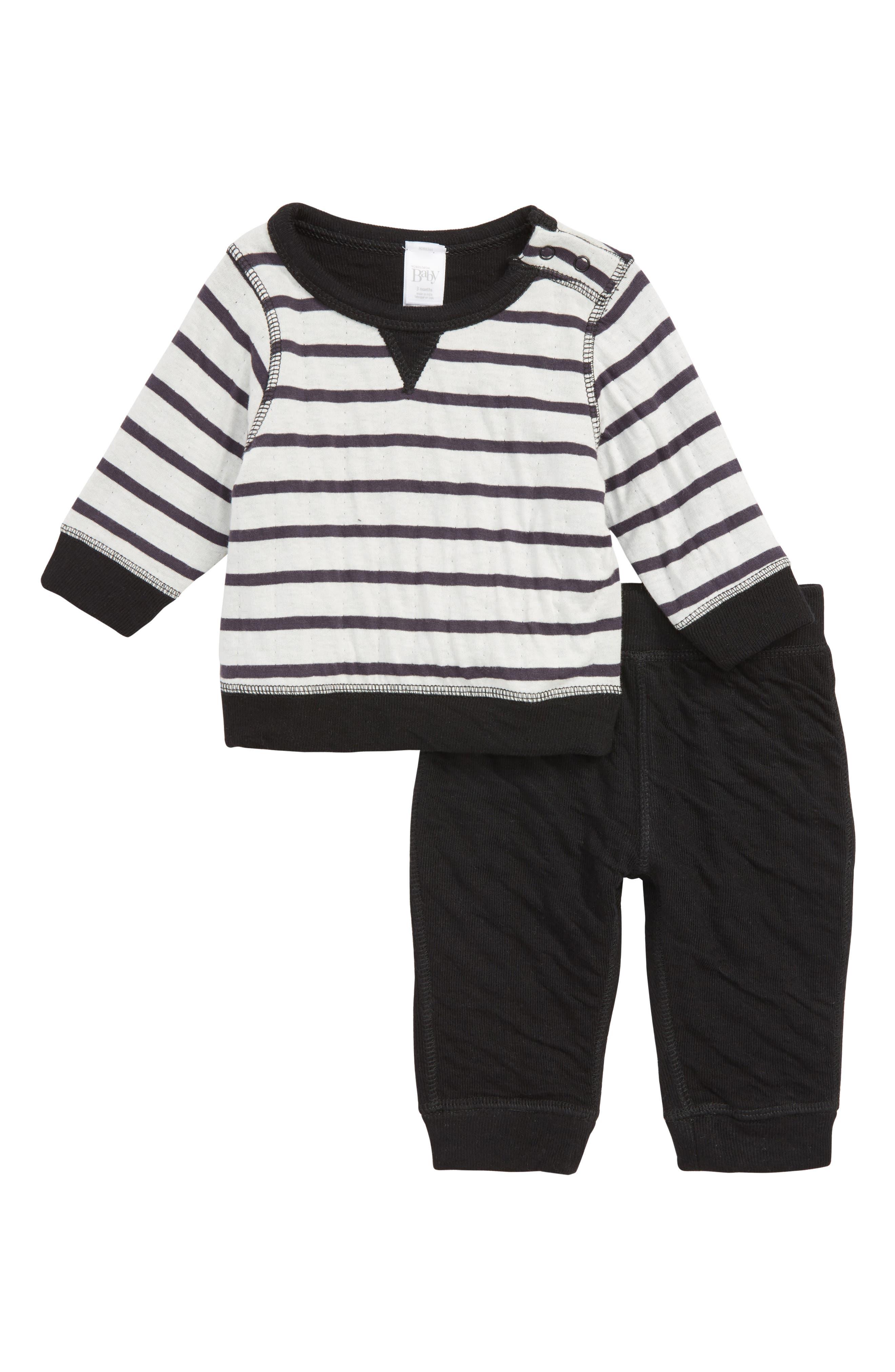 Reversible Double Knit T-Shirt & Pants Set,                             Main thumbnail 1, color,                             BLACK BRETON STRIPE