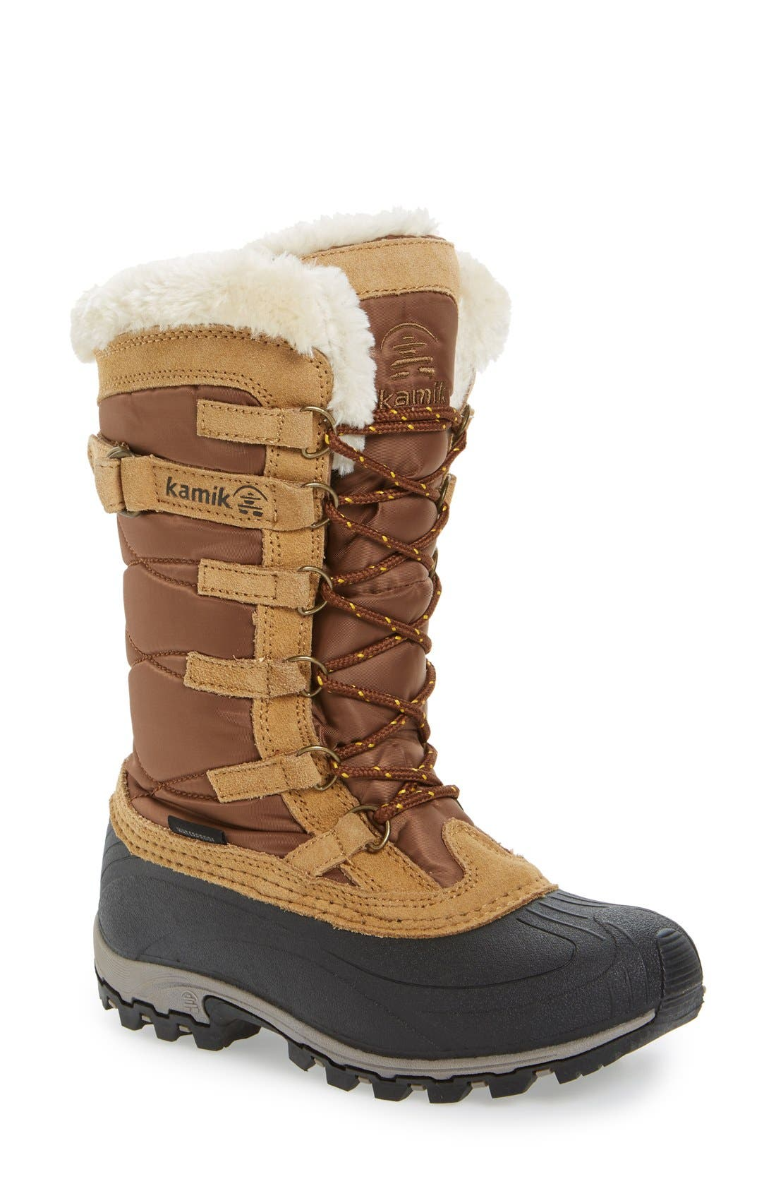 Kamik Snowvalley Waterproof Boot With Faux Fur Cuff, Brown
