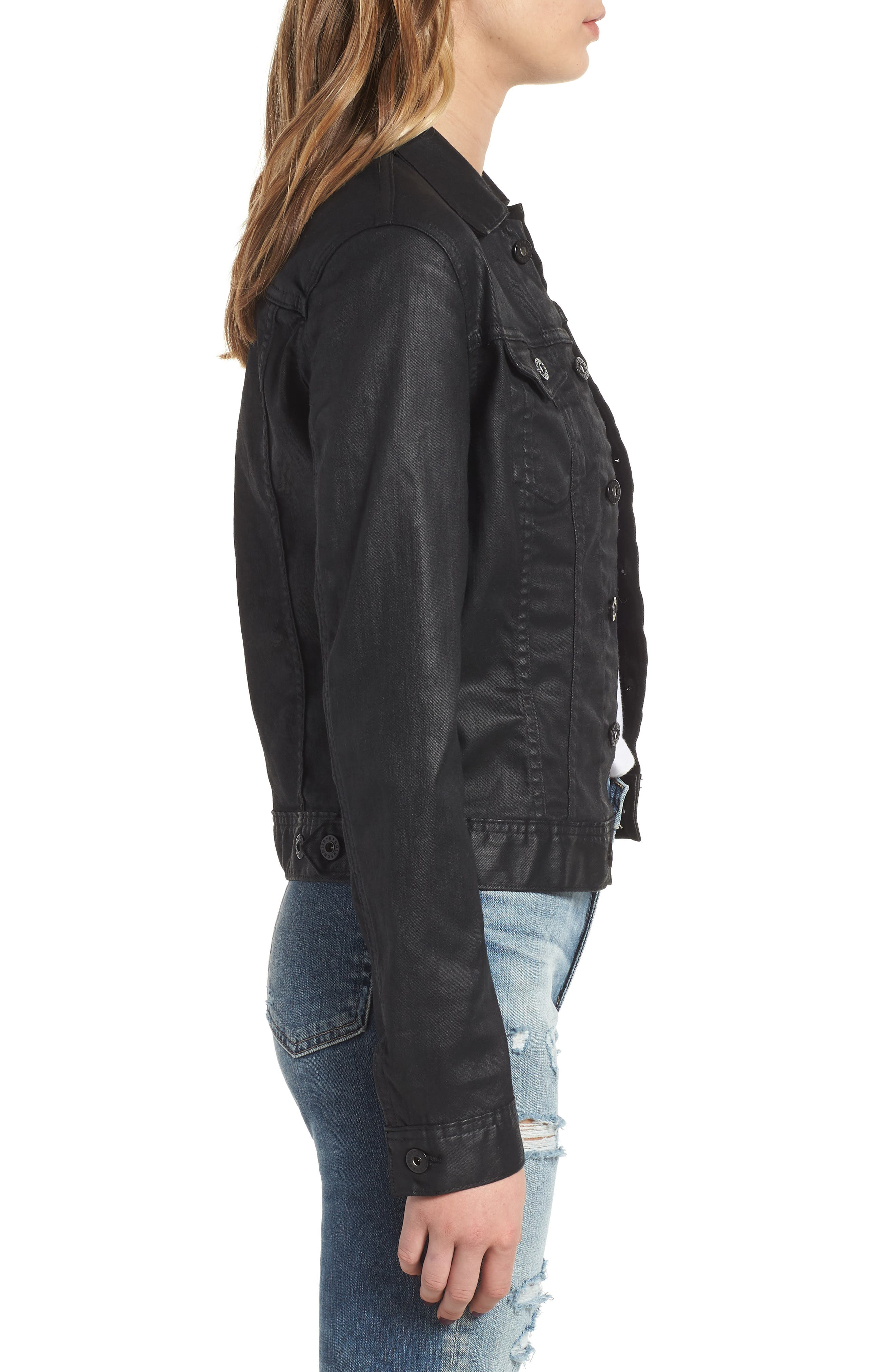 'Robyn' Denim Jacket,                             Alternate thumbnail 3, color,                             LACQUERED PURE BLACK