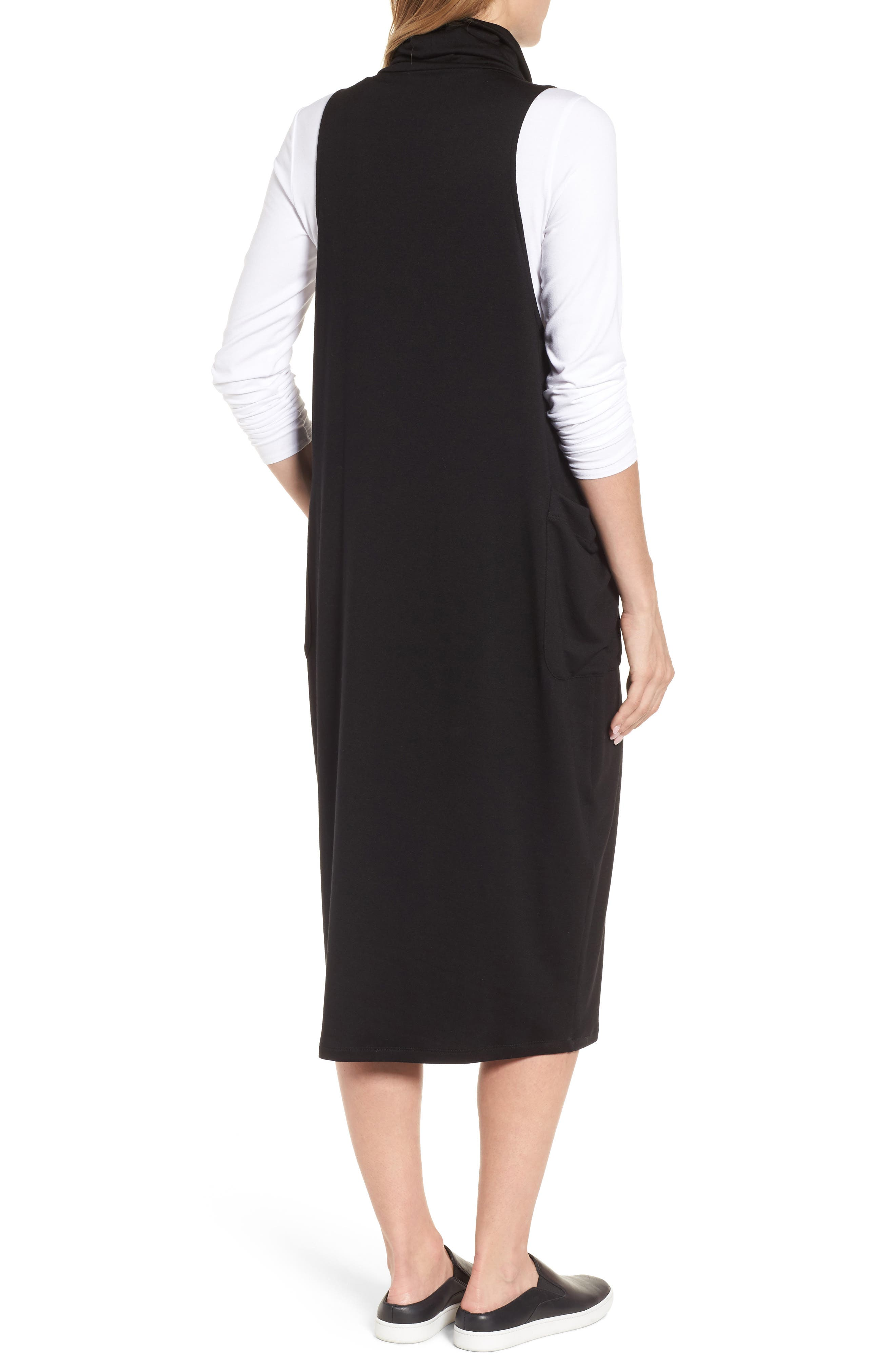 Stretch Tencel<sup>®</sup> Lyocell Knit Jumper Dress,                             Alternate thumbnail 2, color,                             001