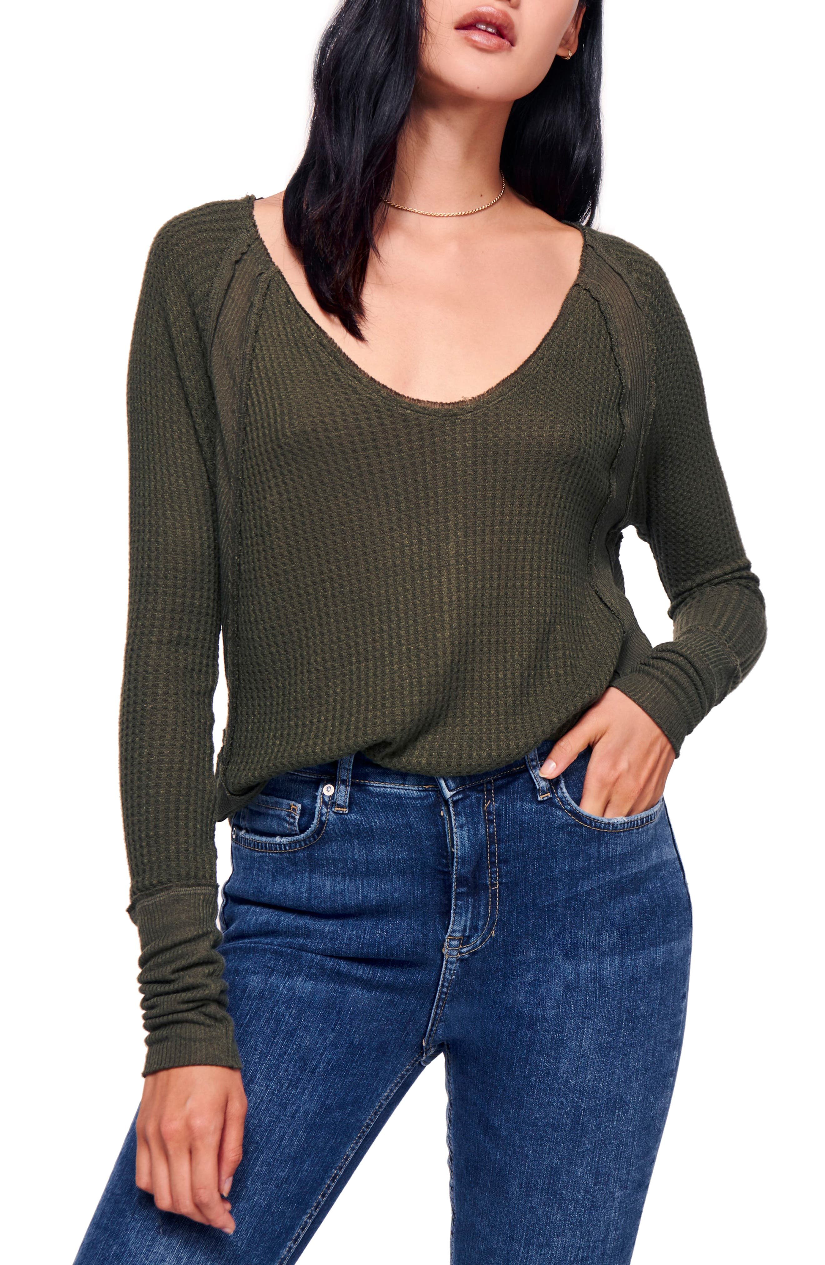 We the Free by Free People Catalina V-Neck Thermal Top,                         Main,                         color, MOSS