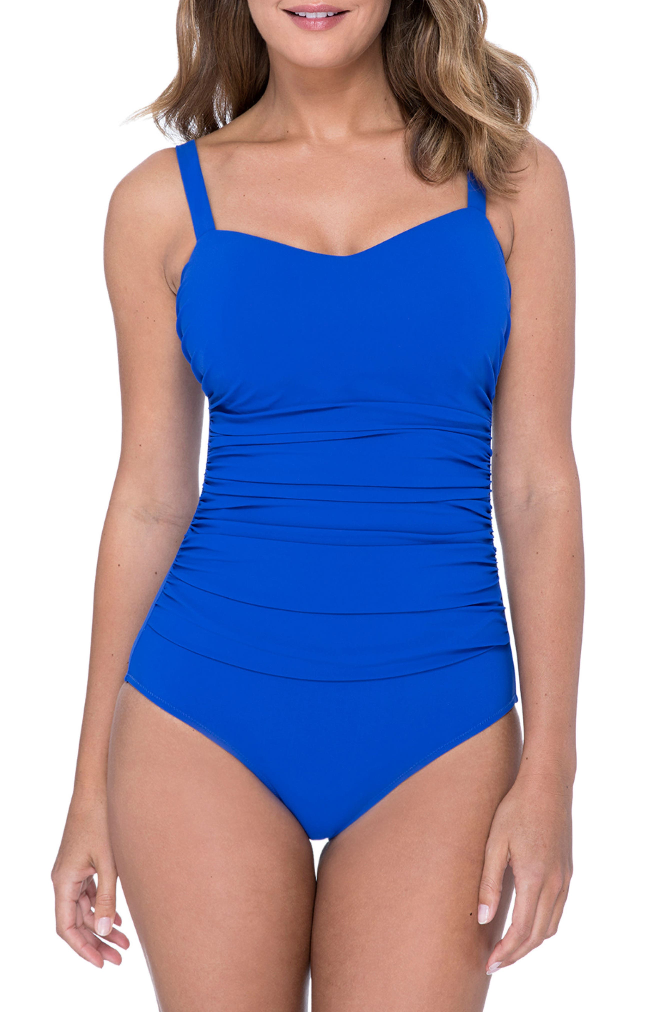 Wide Strap One-Piece Swimsuit,                         Main,                         color, SAPPHIRE