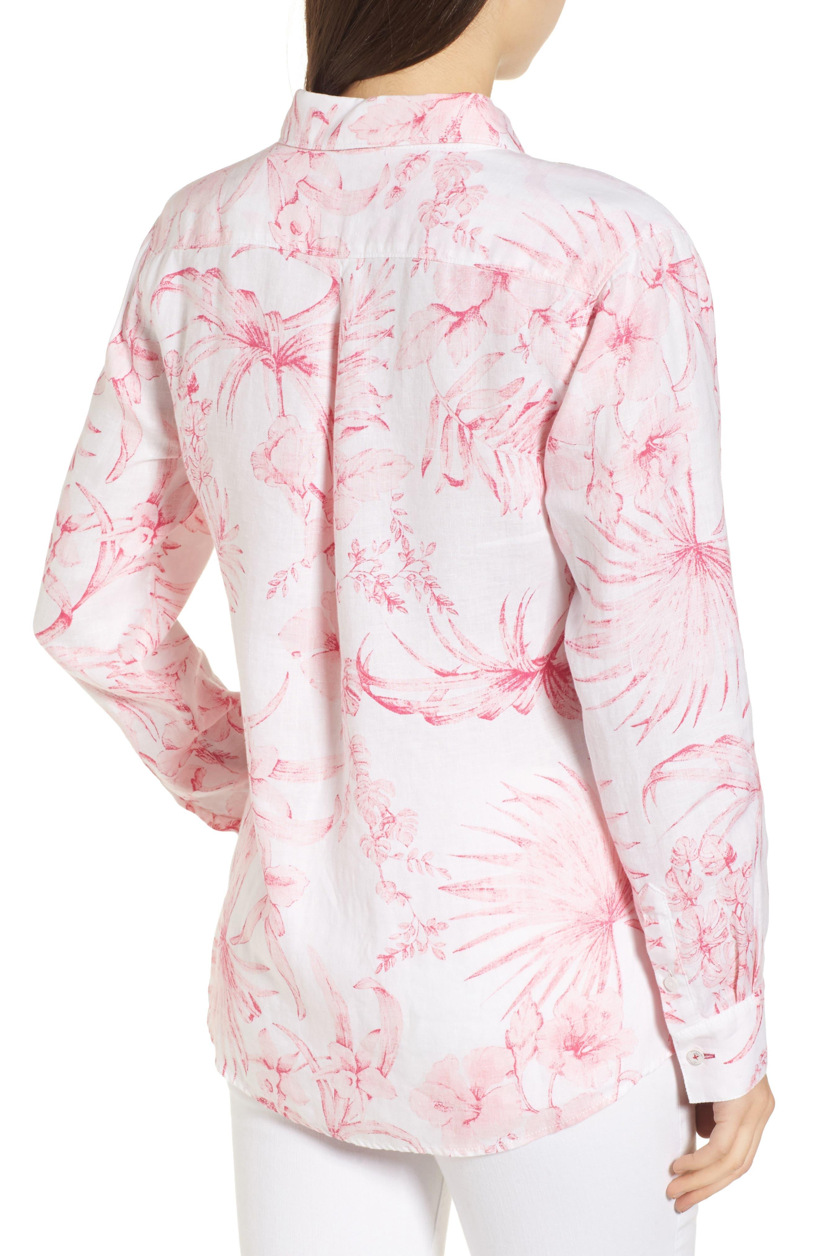 Tulum Tropical Linen Shirt,                             Alternate thumbnail 2, color,                             PINK LACE