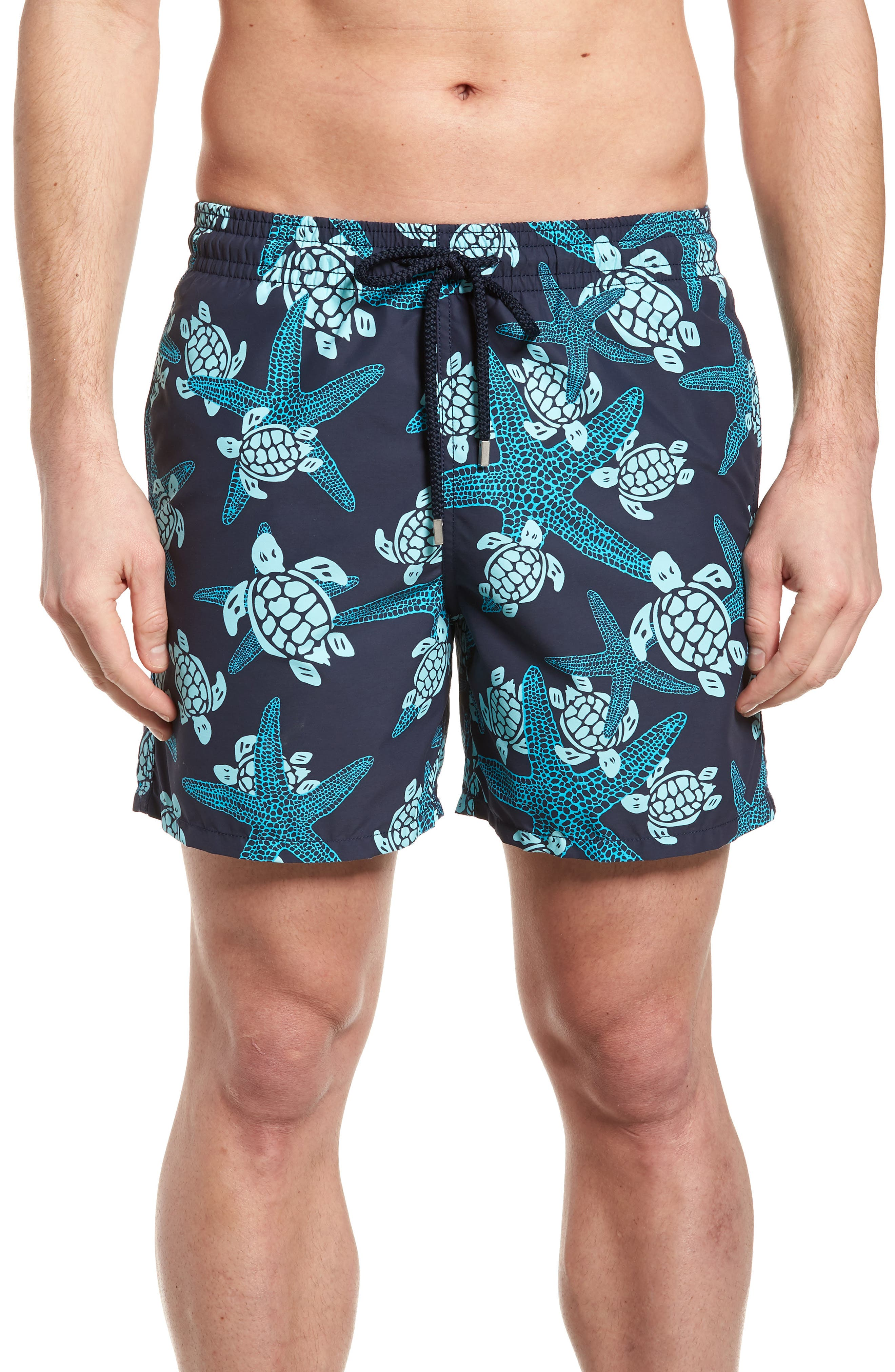 Starlette Turtle Print Swim Trunks,                             Main thumbnail 1, color,                             NAVY