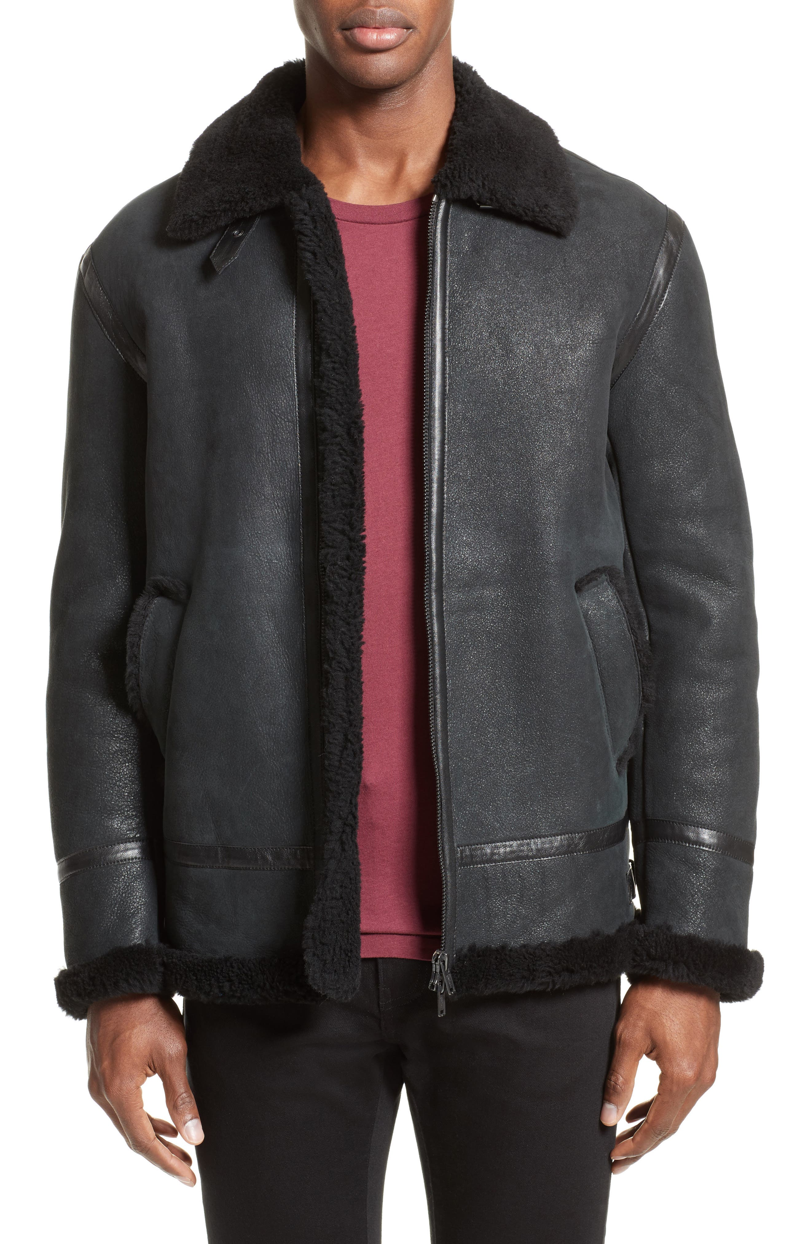 Lamb Shearling Jacket,                         Main,                         color, 001