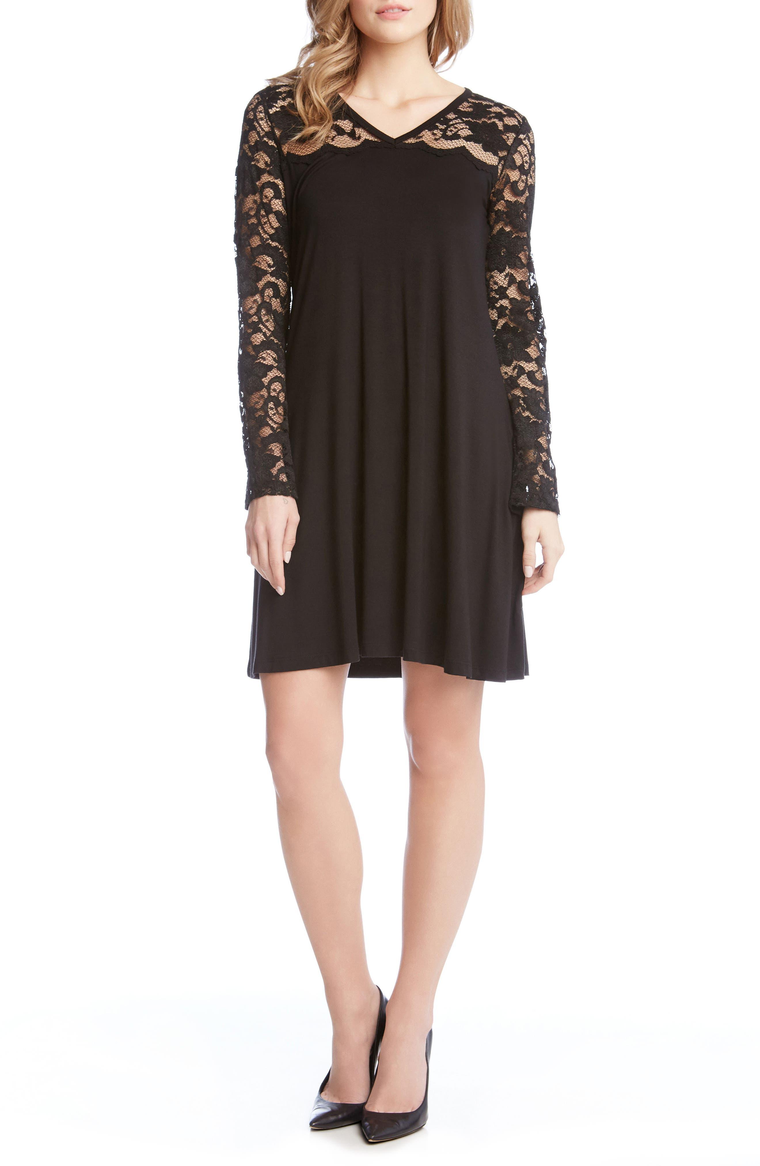 Scalloped Lace Yoke Shift Dress,                             Main thumbnail 1, color,                             001