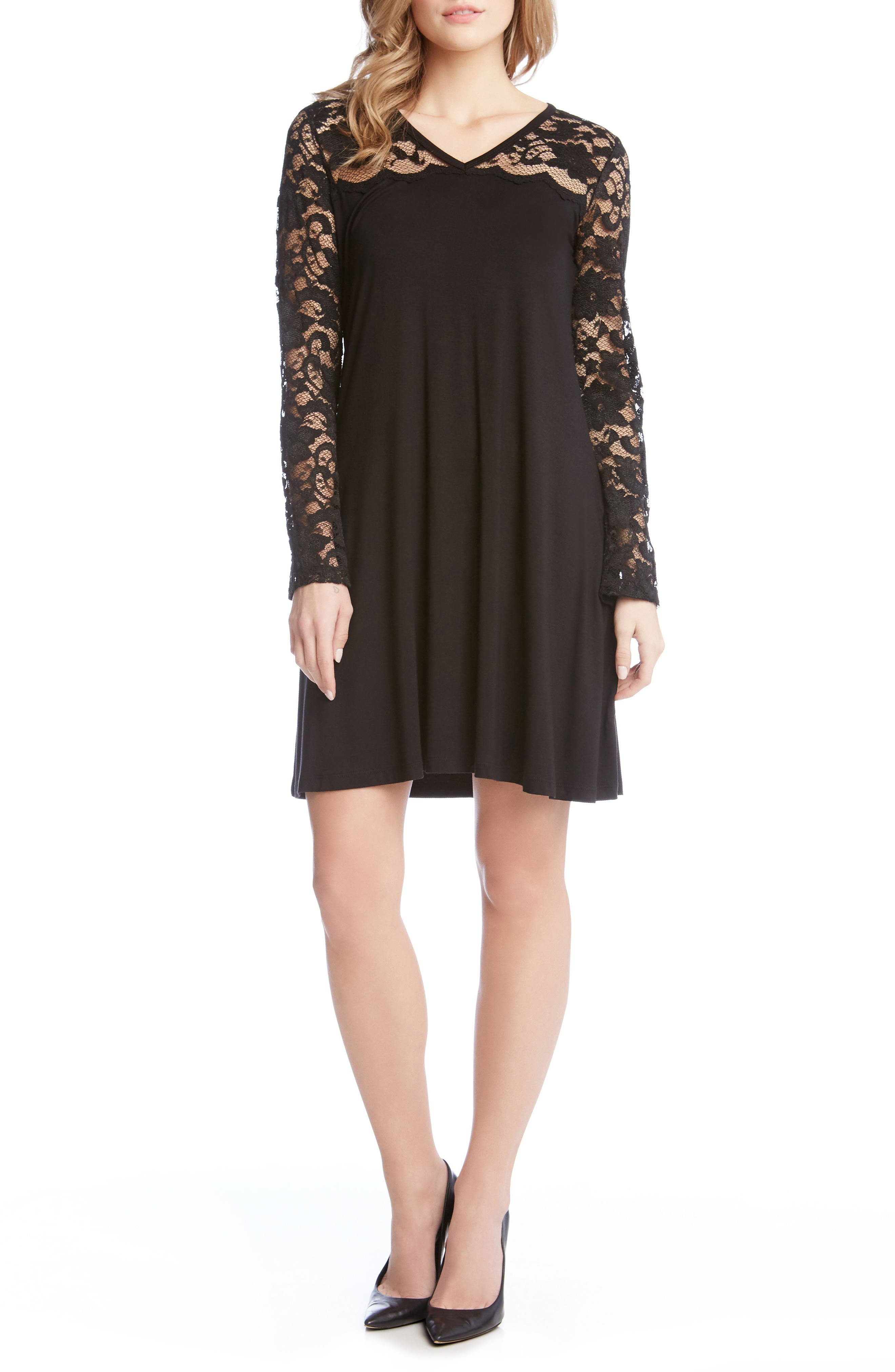 Scalloped Lace Yoke Shift Dress,                         Main,                         color, 001